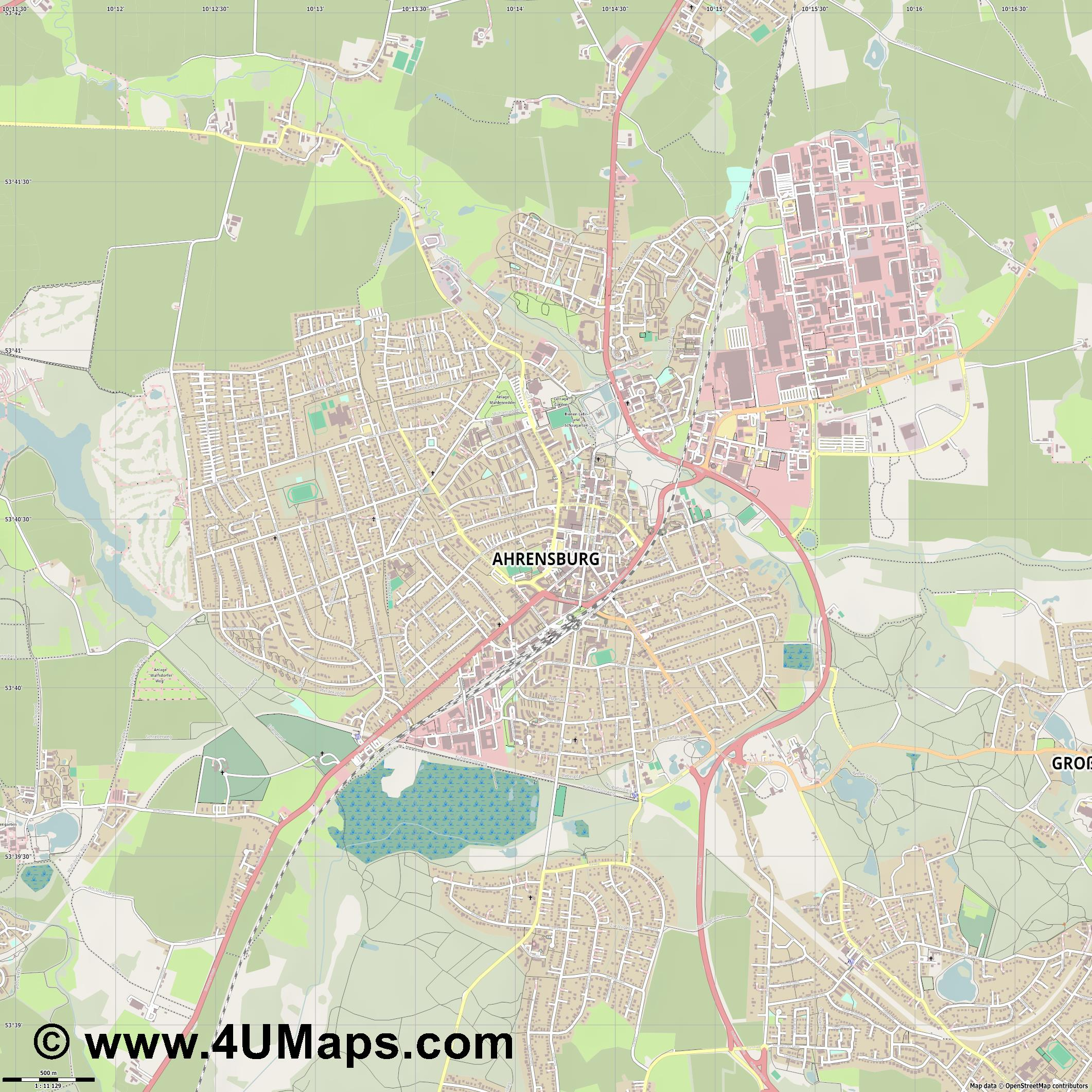 Ahrensburg  jpg ultra high detail preview vector city map