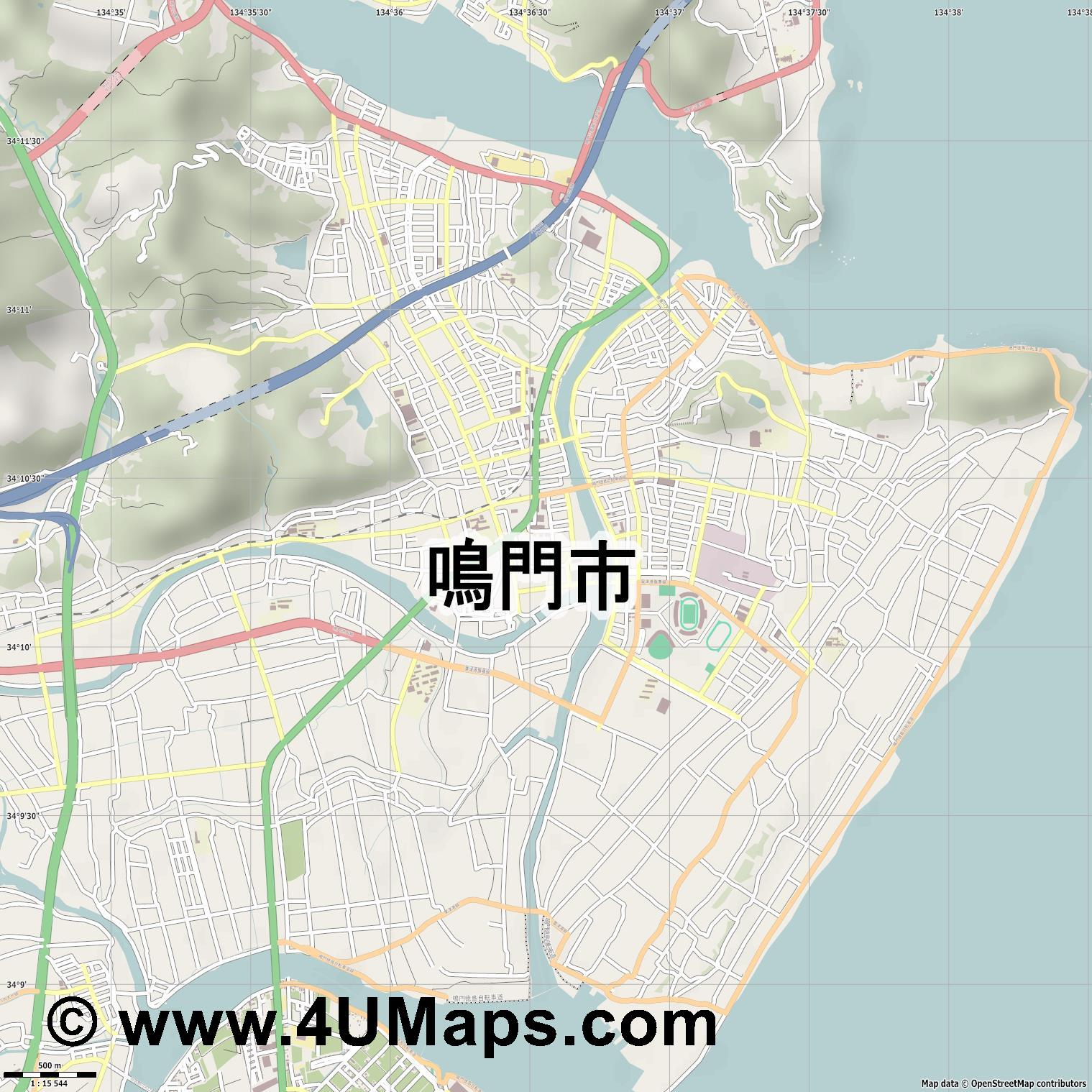 鳴門市  Naruto   jpg ultra high detail preview vector city map