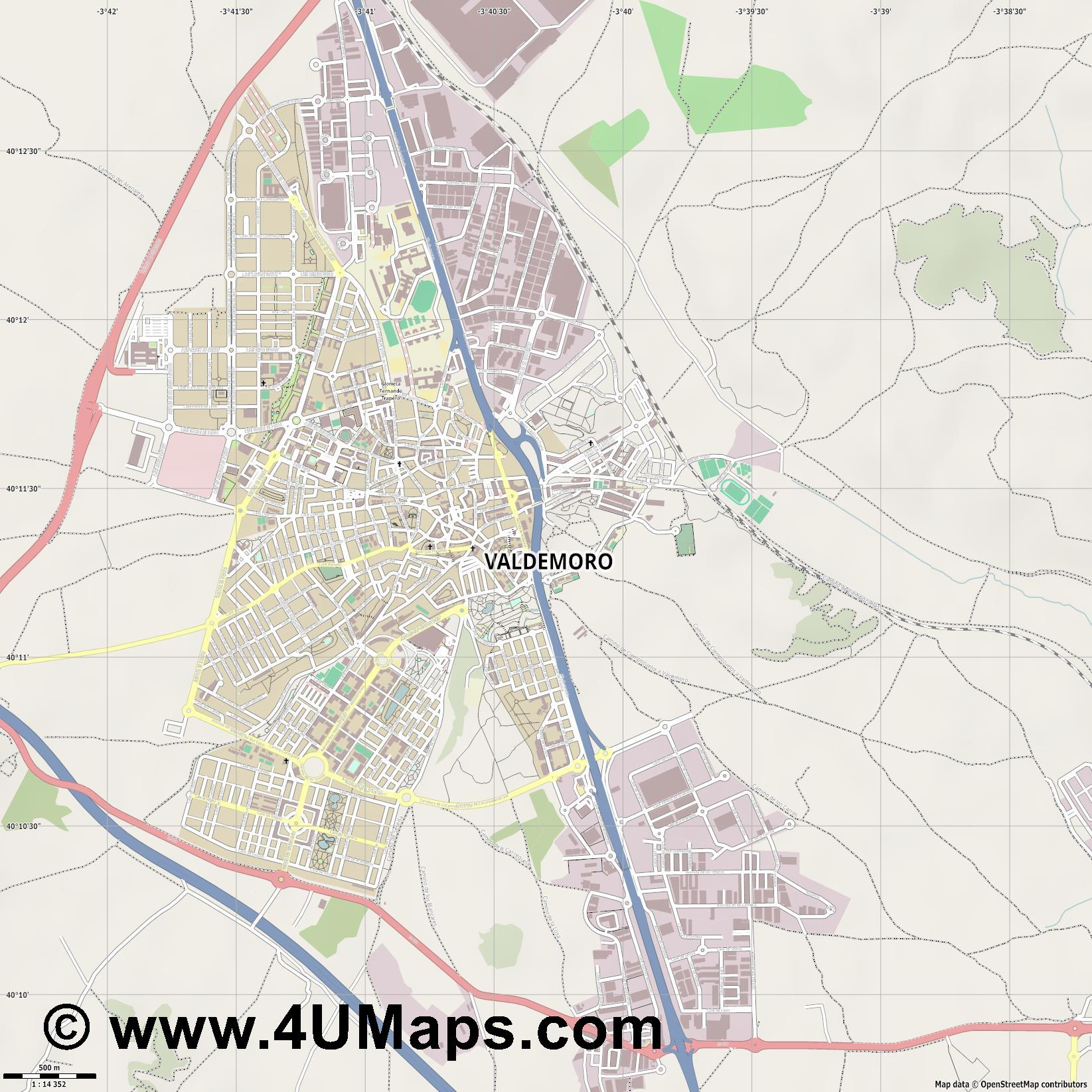 Valdemoro  jpg ultra high detail preview vector city map