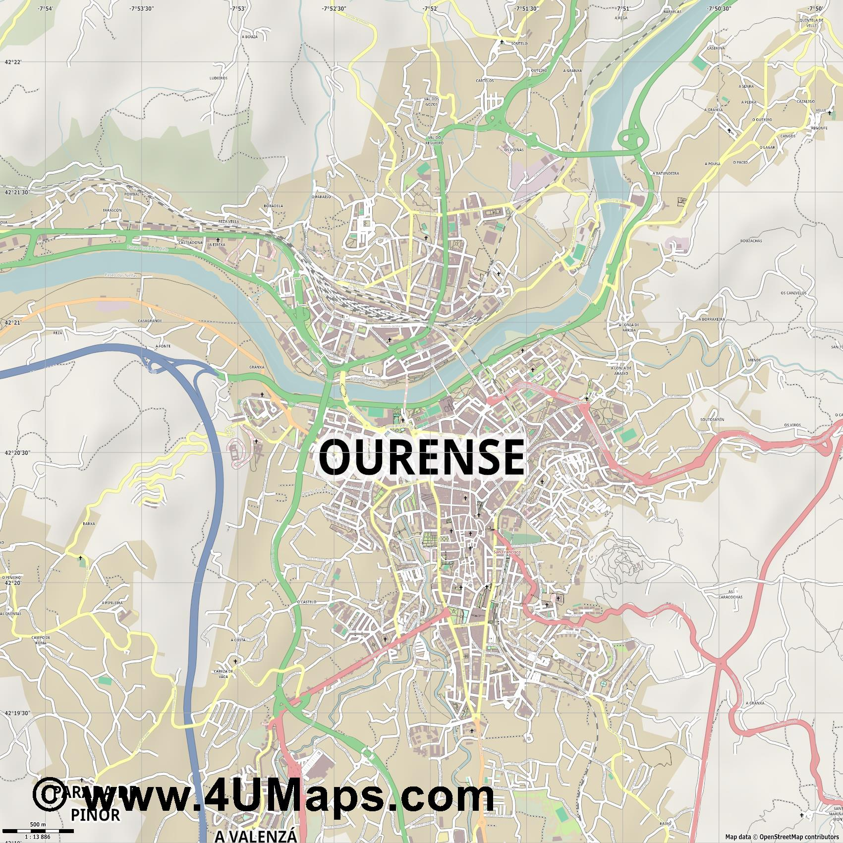 Ourense Orense  jpg ultra high detail preview vector city map