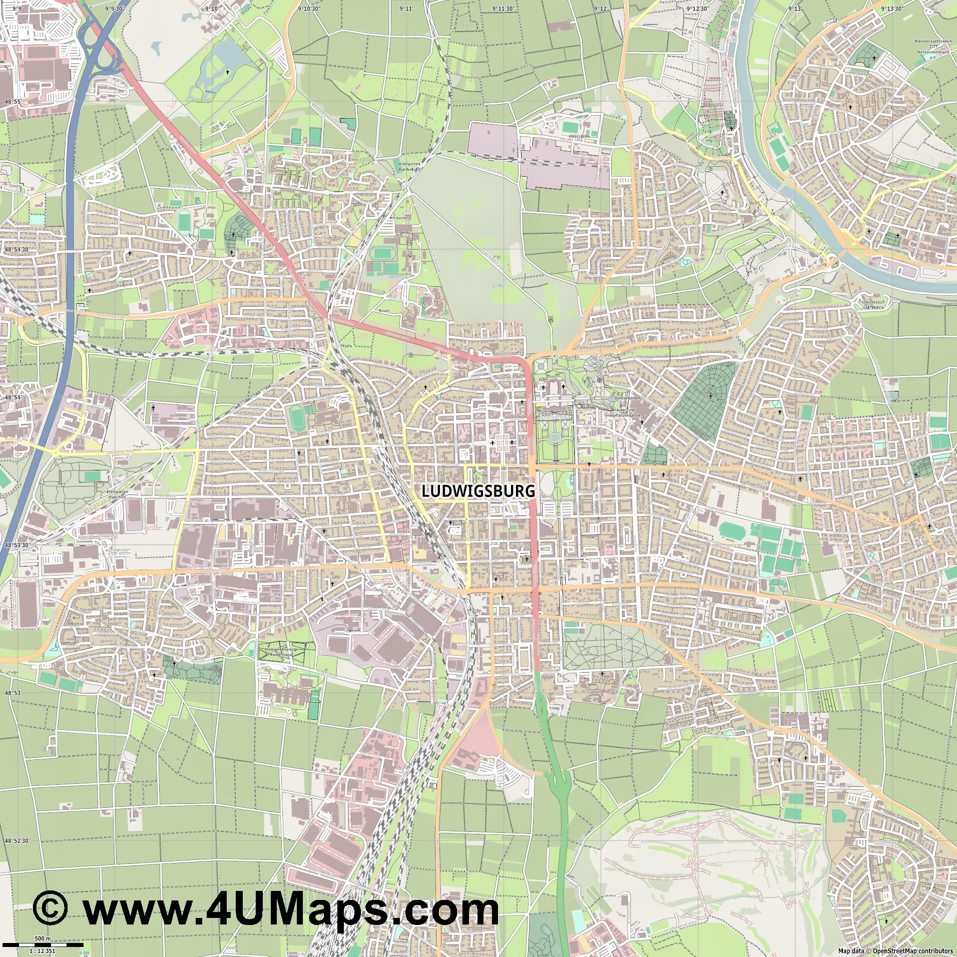 Ludwigsburg Ludwigsbourg  jpg ultra high detail preview vector city map