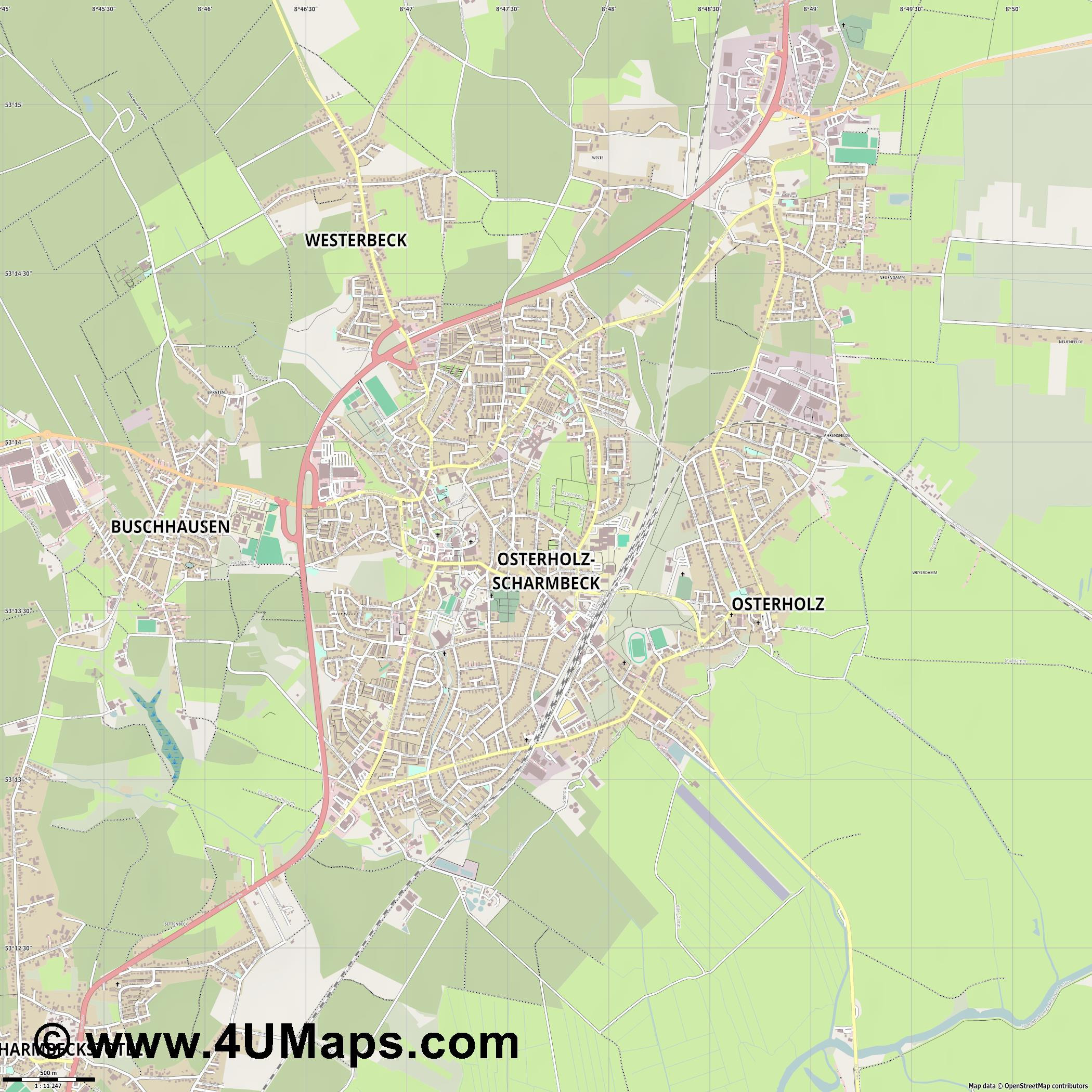 Osterholz Scharmbeck  jpg ultra high detail preview vector city map