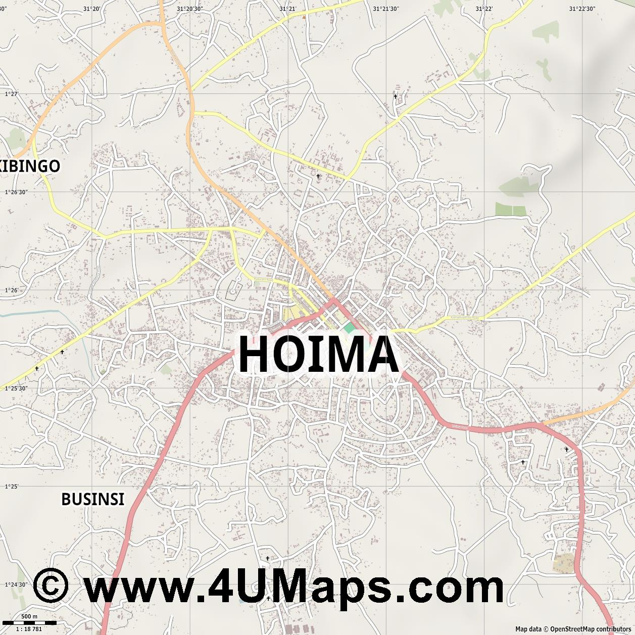 Hoima  jpg ultra high detail preview vector city map