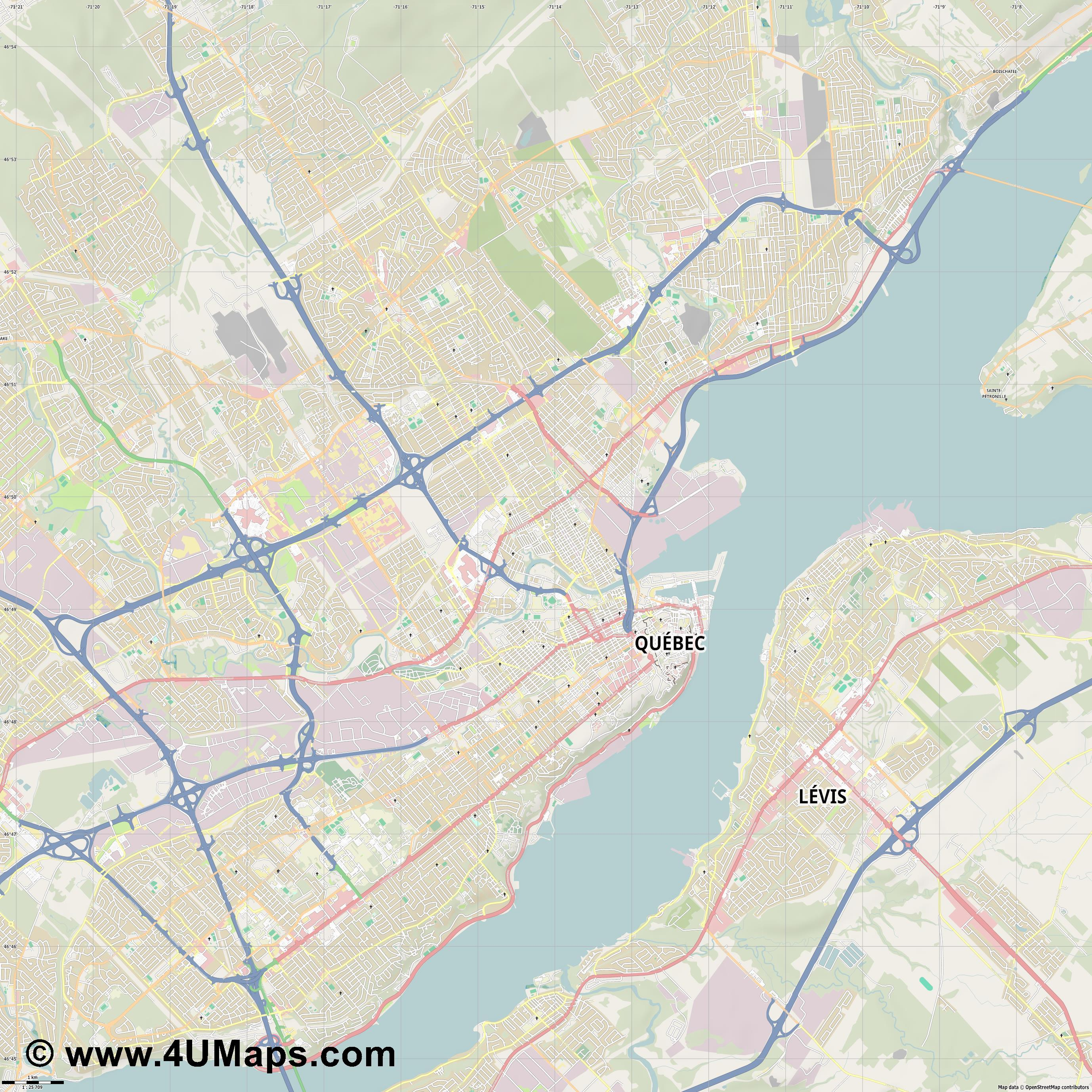 Québec Quebec  jpg high detail, large area preview vector city map