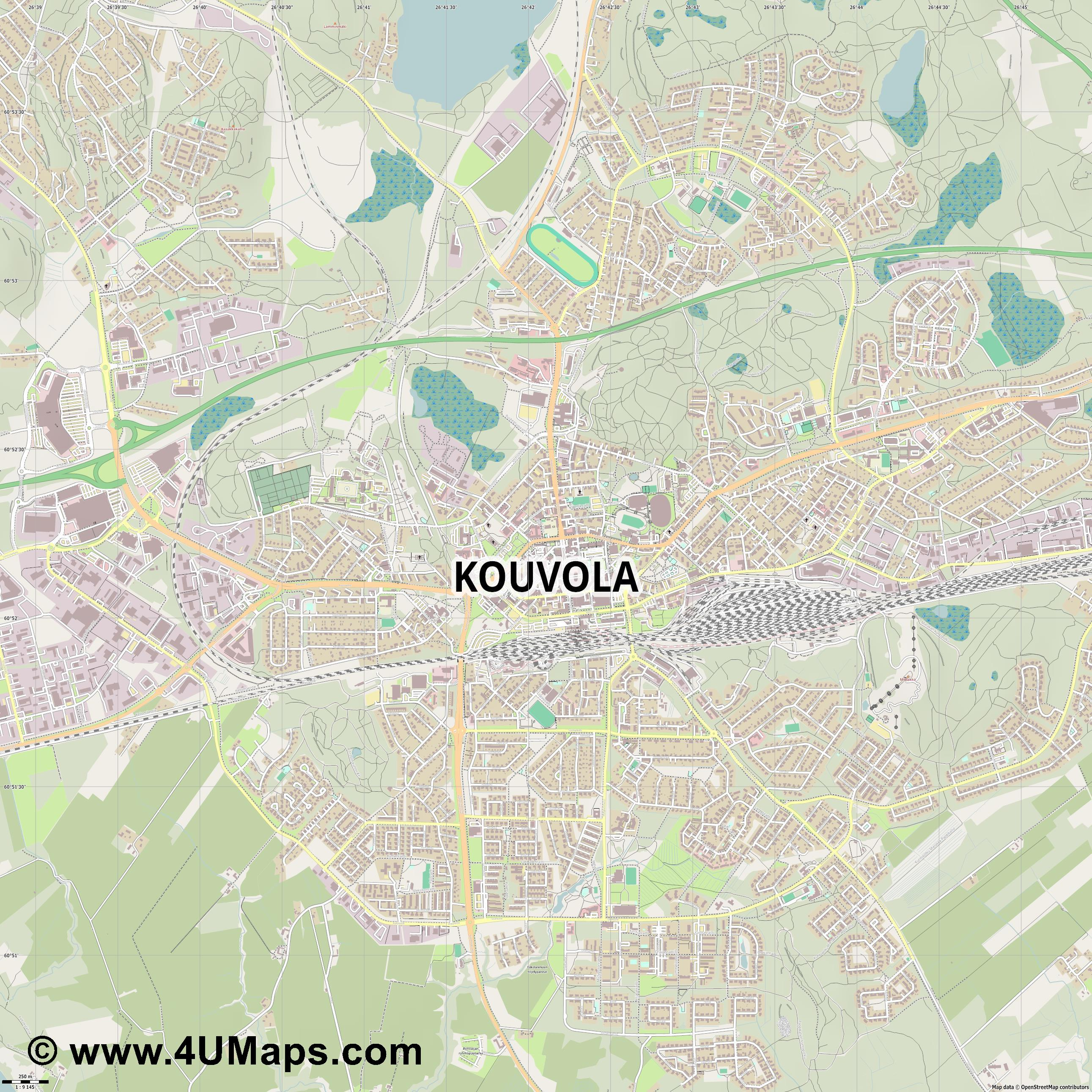 PDF Svg Scalable Vector City Map Kouvola