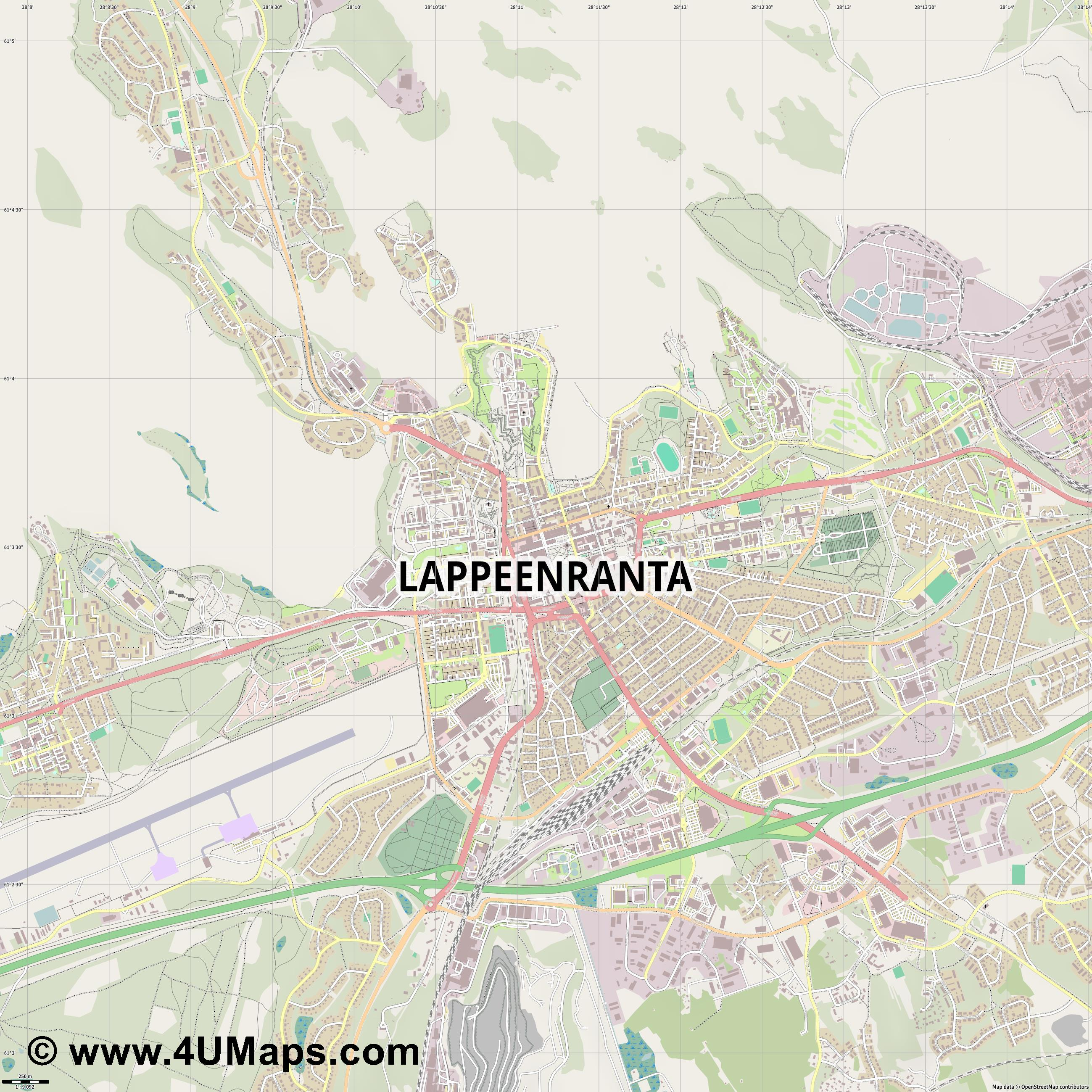 Lappeenranta  jpg ultra high detail preview vector city map