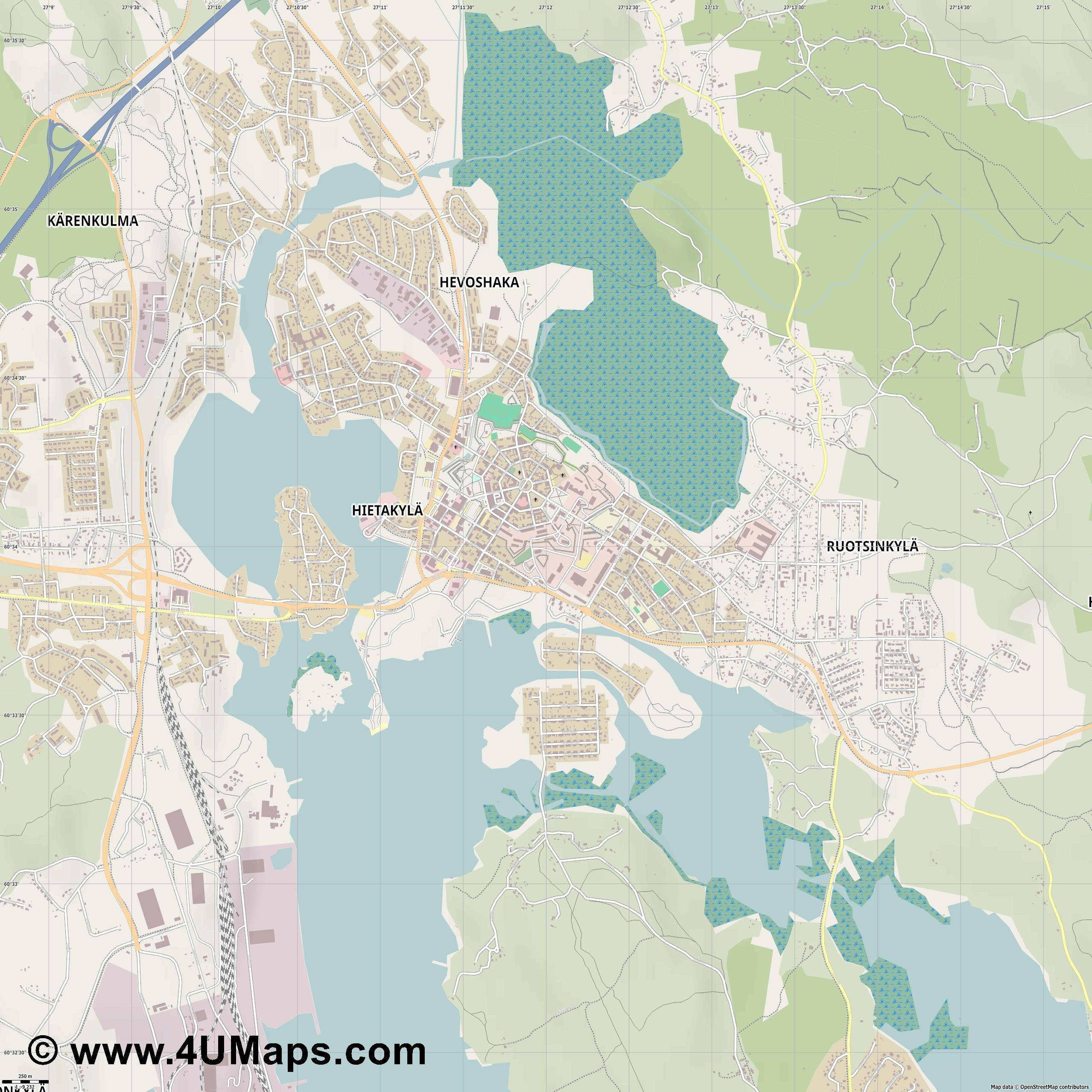 Hamina  jpg ultra high detail preview vector city map