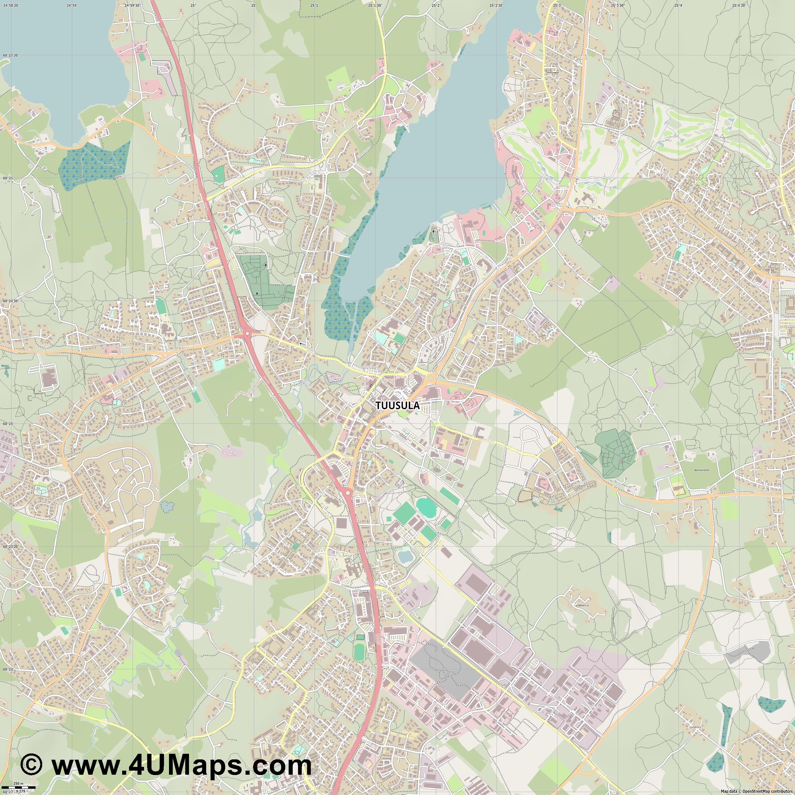 Tuusula  jpg ultra high detail preview vector city map