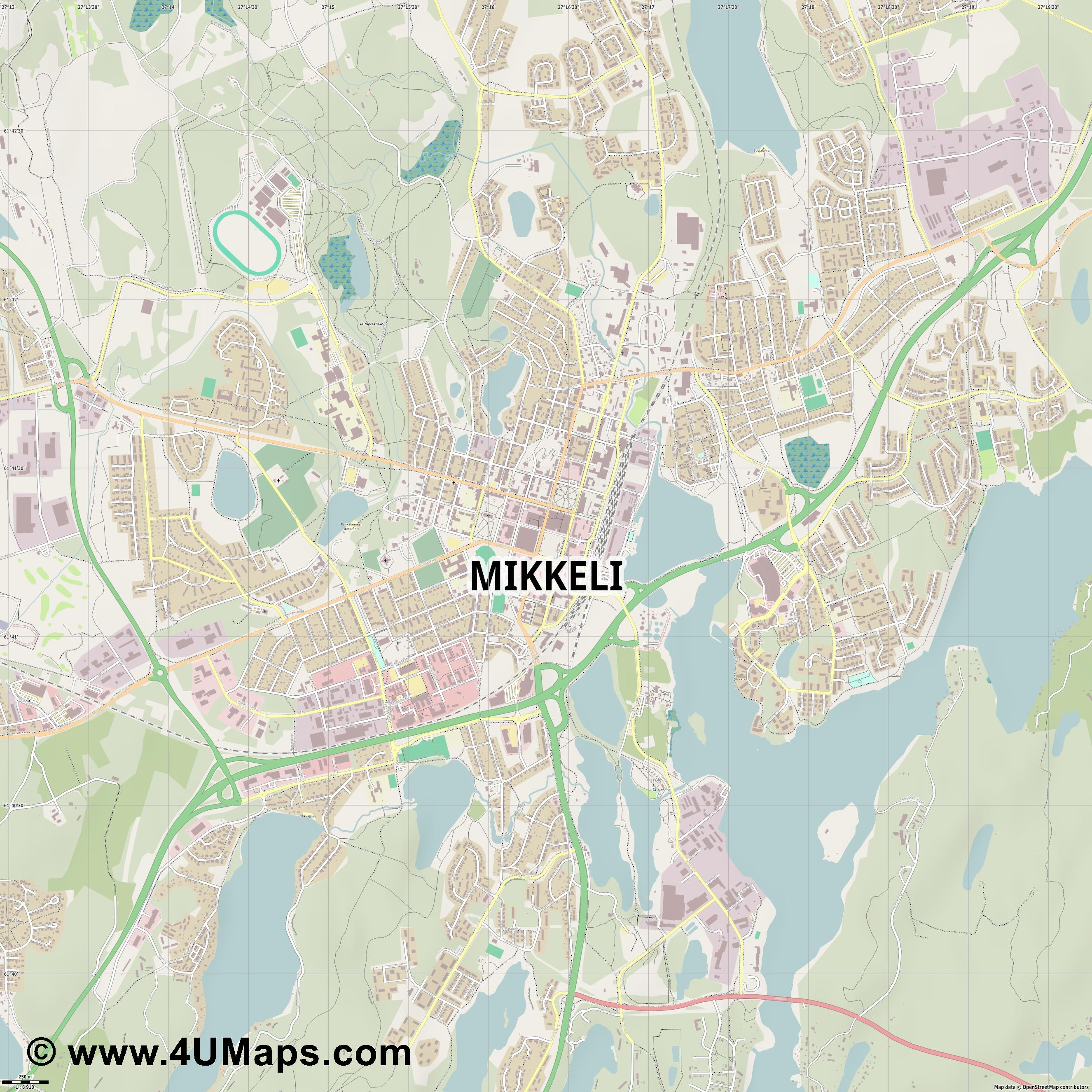 Mikkeli  jpg ultra high detail preview vector city map