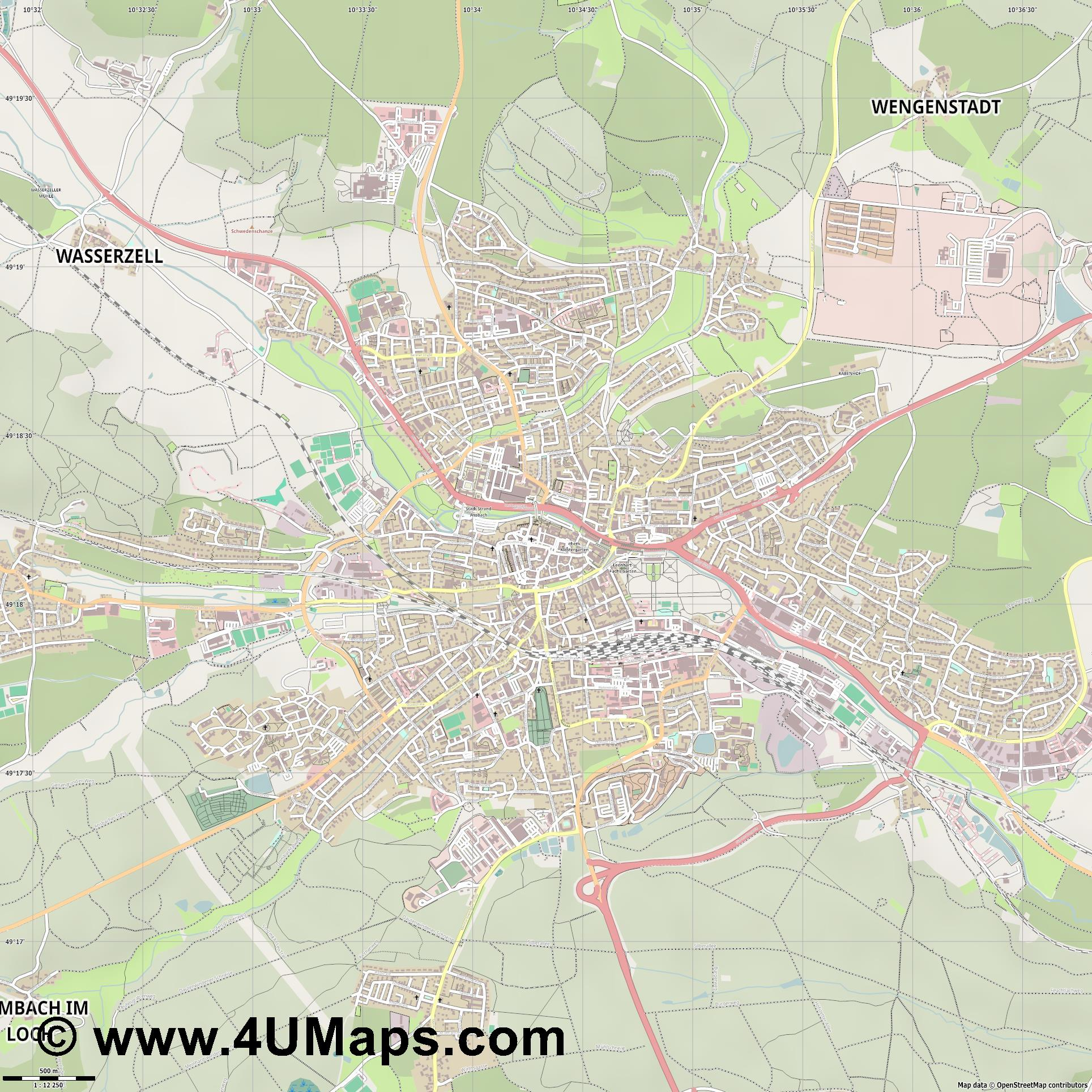 Ansbach  jpg ultra high detail preview vector city map