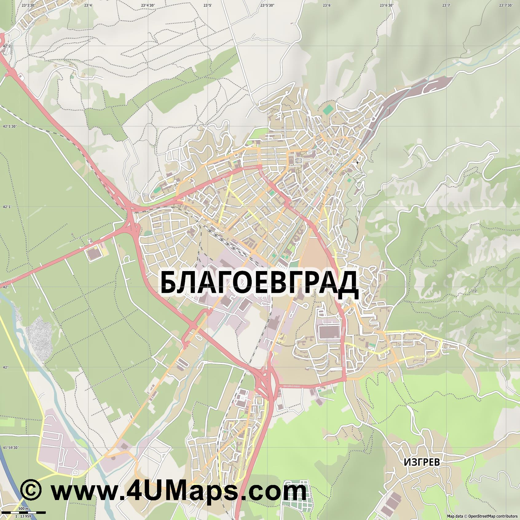 Благоевград Blagoevgrad Blagoewgrad  jpg ultra high detail preview vector city map
