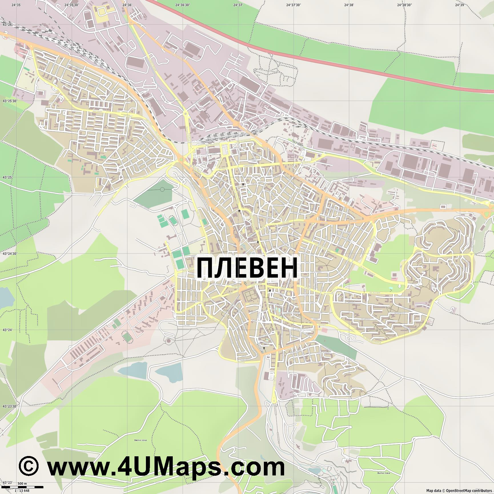 Плевен Pleven Plewen  jpg ultra high detail preview vector city map
