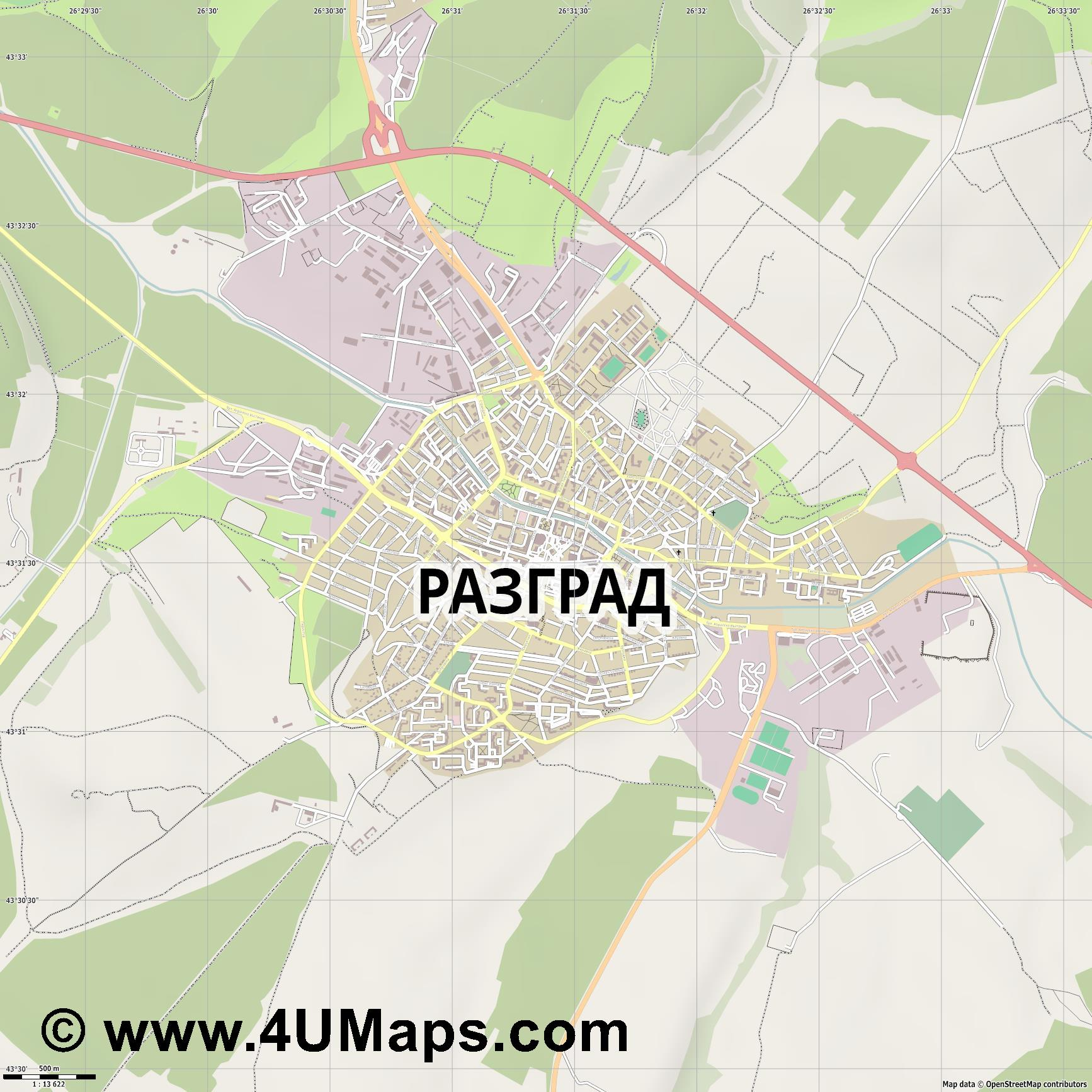 Разград Razgrad Rasgrad  jpg ultra high detail preview vector city map