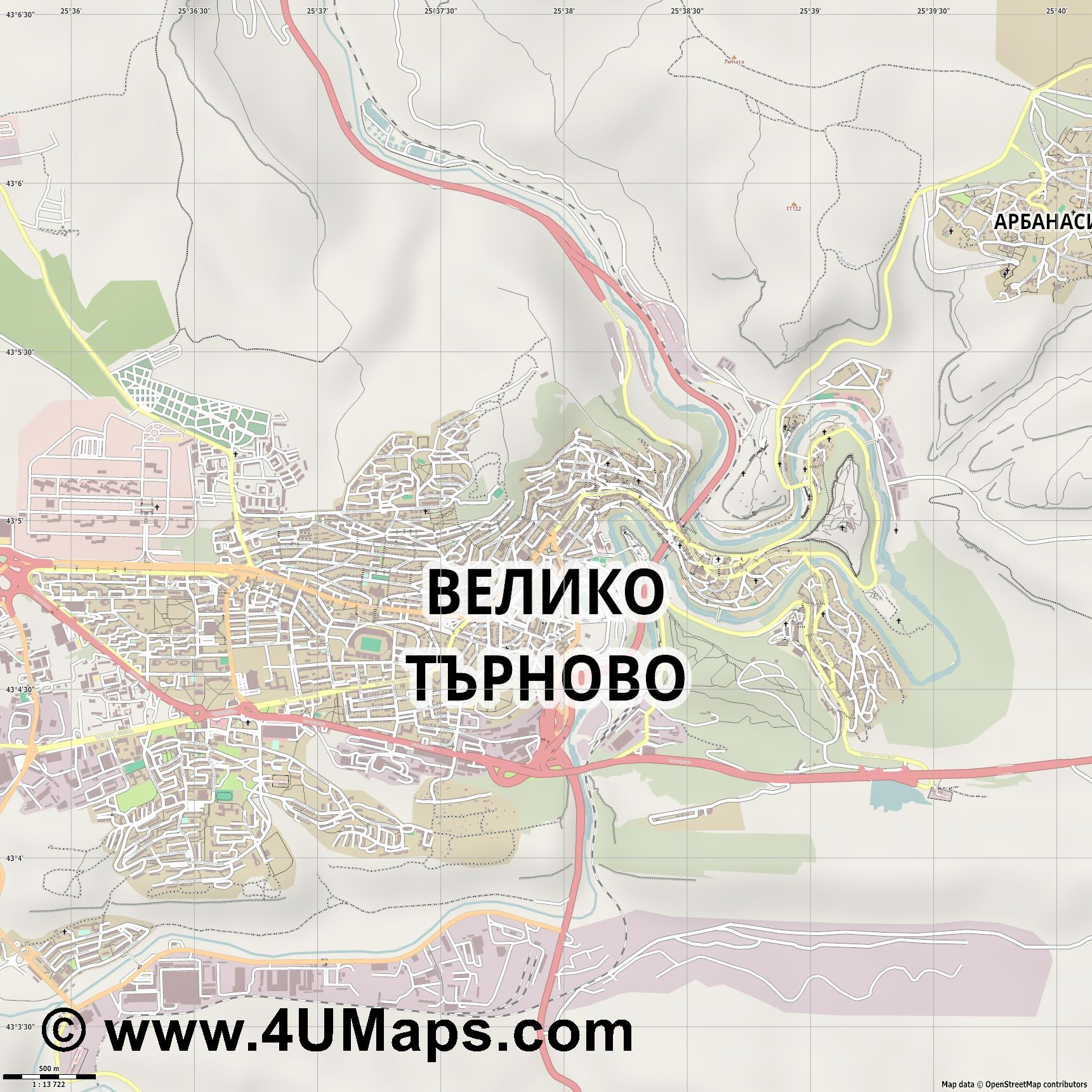 Велико Търново Veliko Tarnovo Weliko Tarnowo  jpg ultra high detail preview vector city map