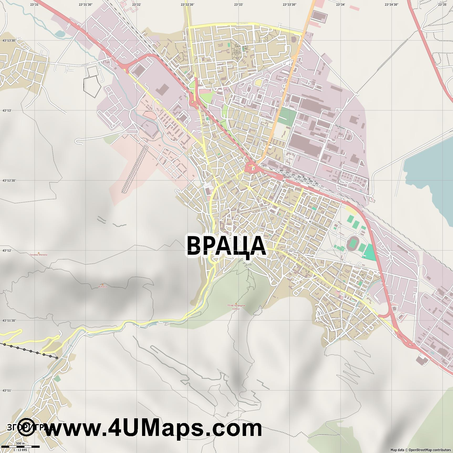 Враца Vratsa Vraca Wraza  jpg ultra high detail preview vector city map