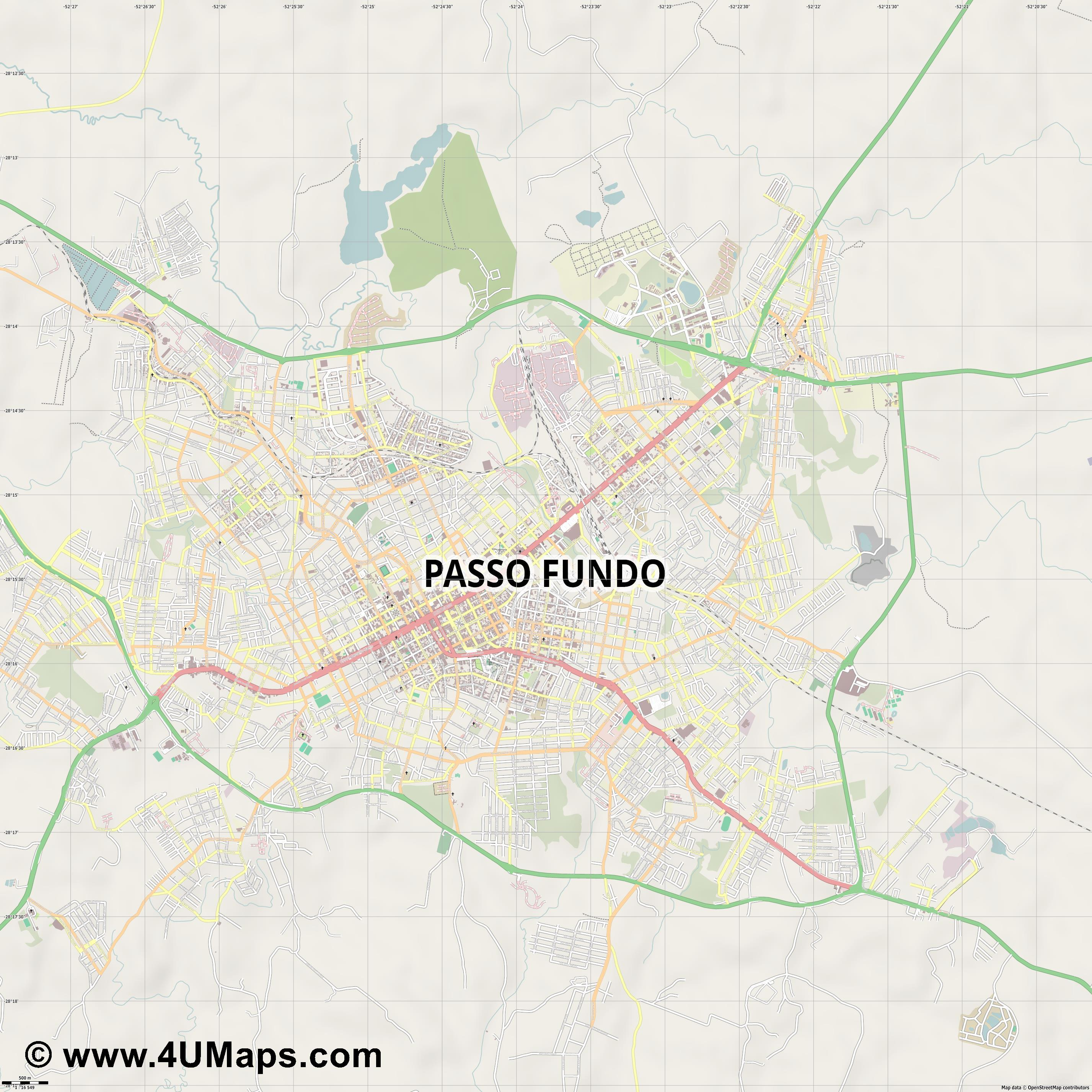 Passo Fundo  jpg ultra high detail preview vector city map