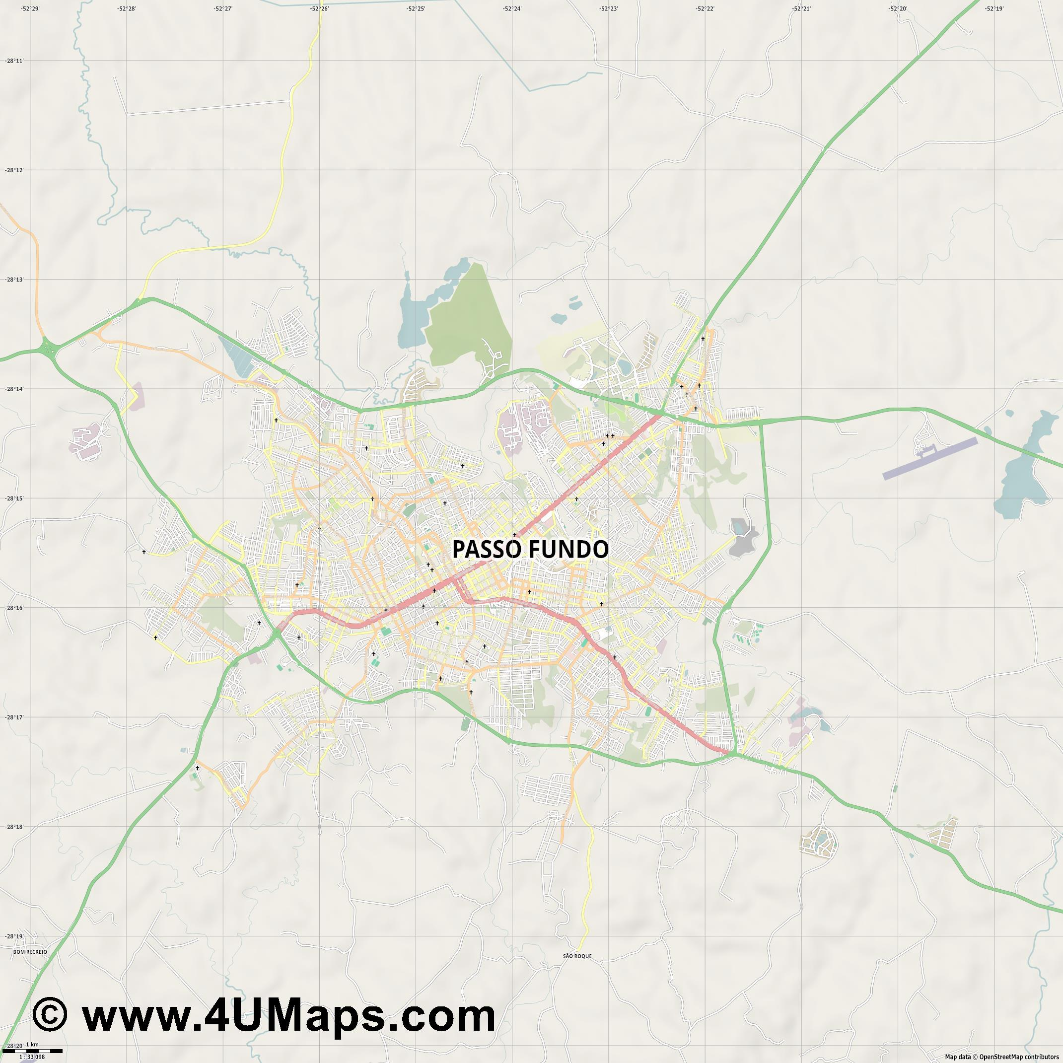 Passo Fundo  jpg high detail, large area preview vector city map