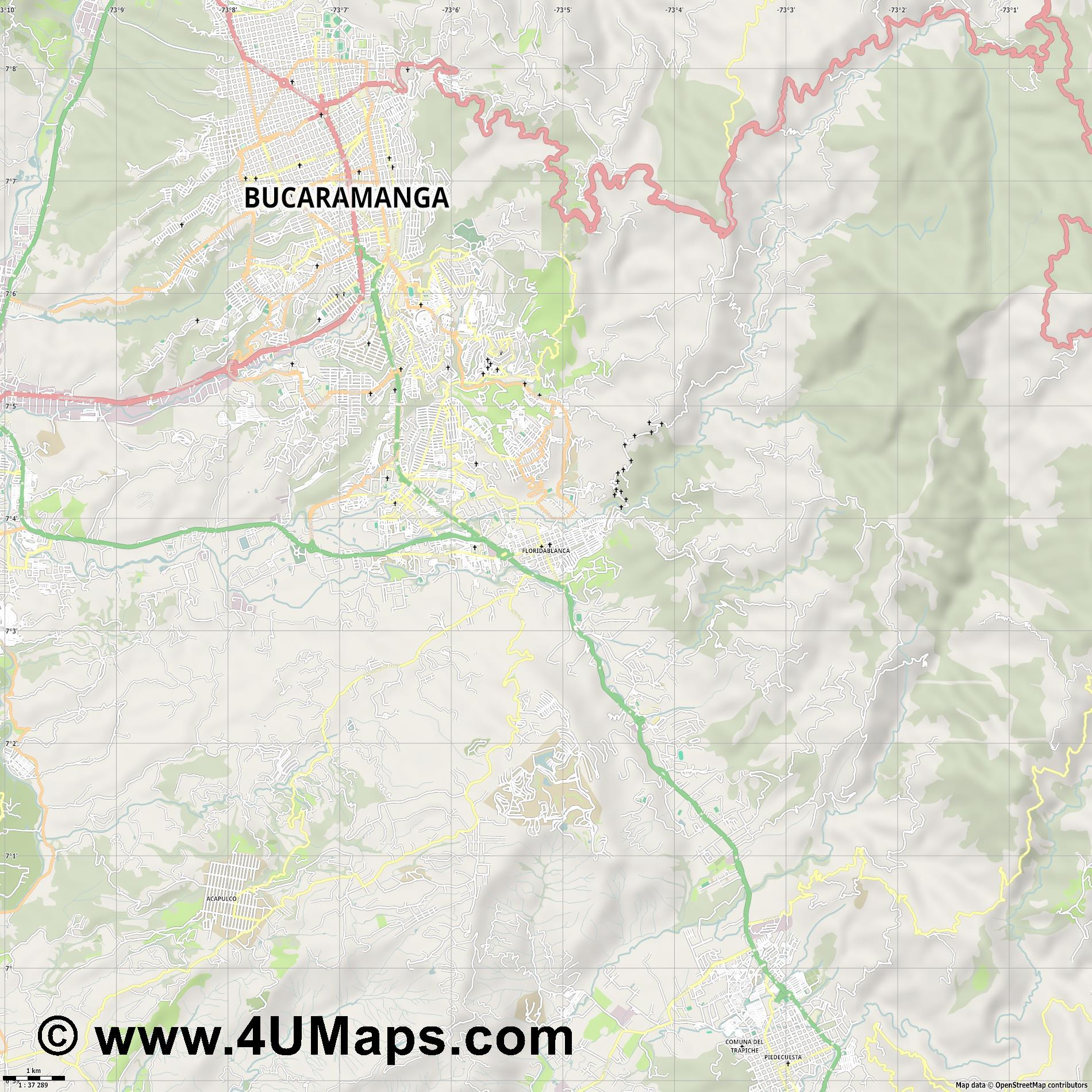 Floridablanca  jpg high detail, large area preview vector city map