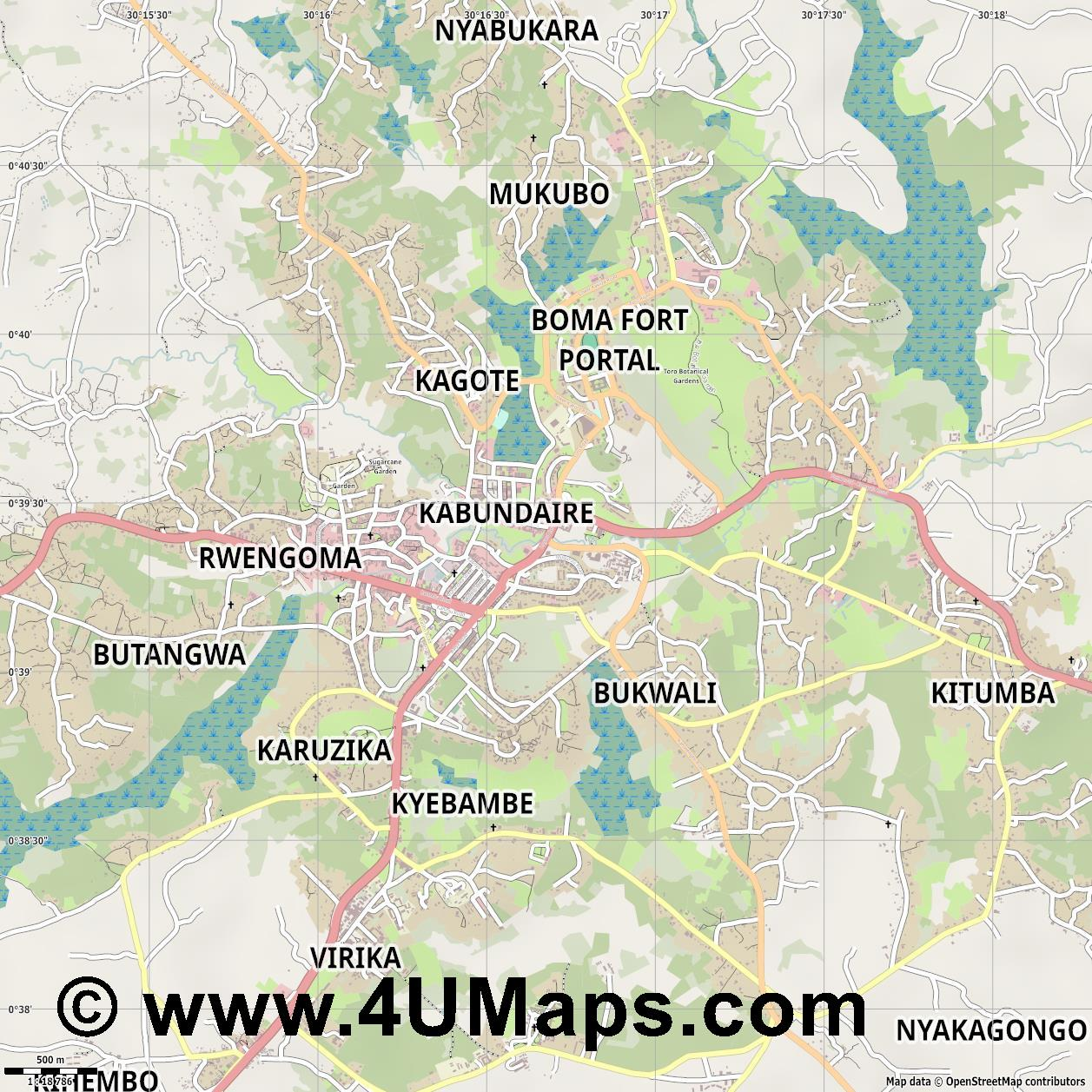 Fort Portal  jpg ultra high detail preview vector city map