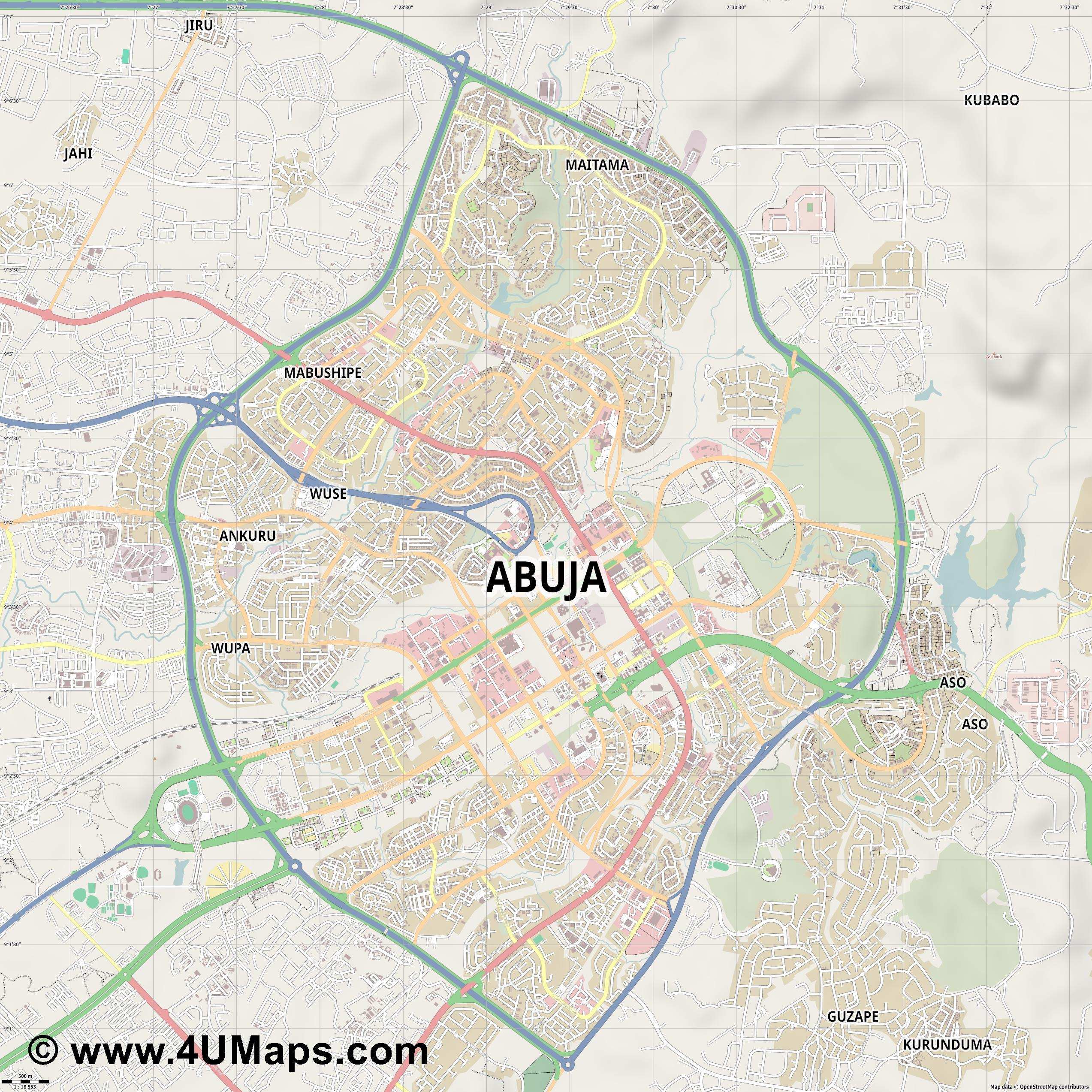 Abuja Abuya  jpg ultra high detail preview vector city map