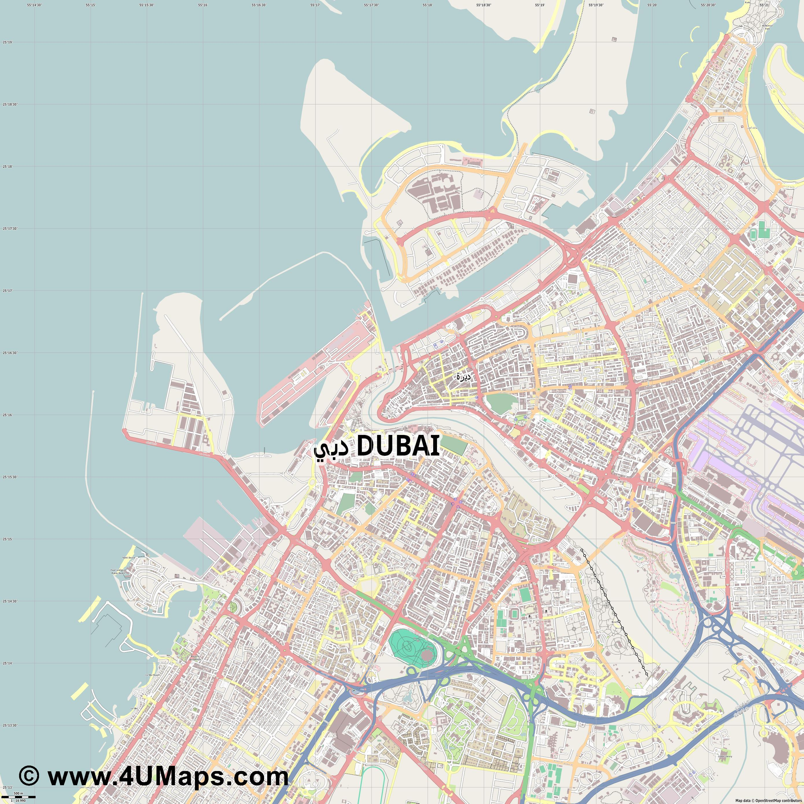 Dubai Dubái Dubaï  jpg ultra high detail preview vector city map