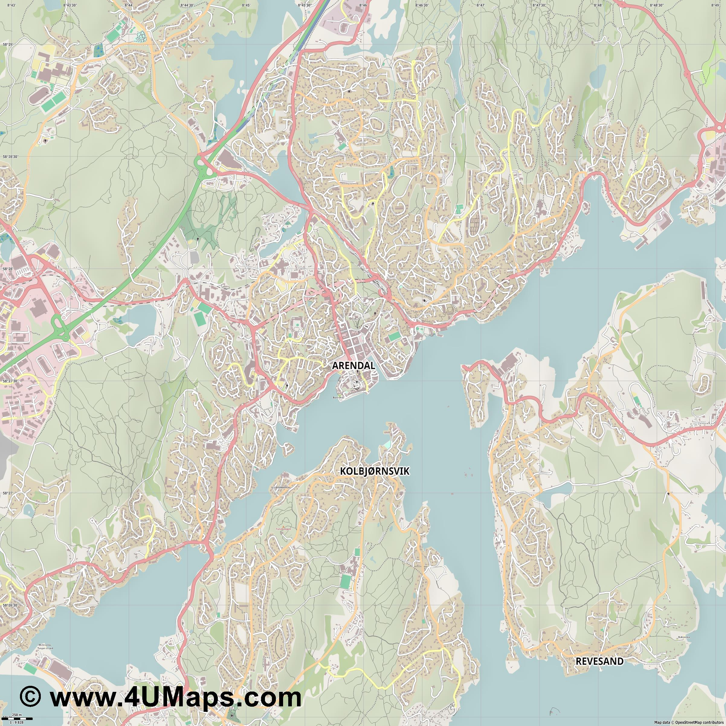 Arendal  jpg ultra high detail preview vector city map