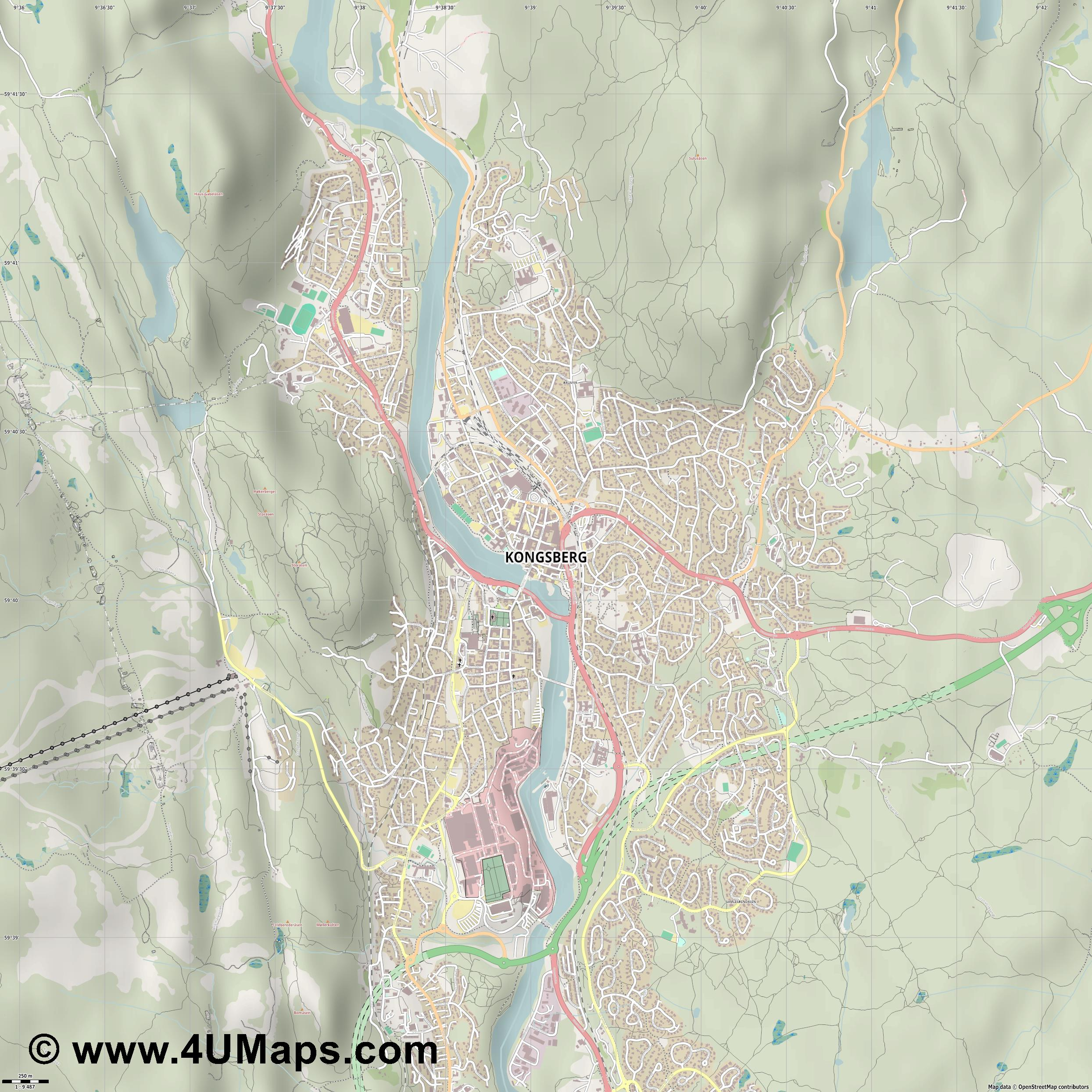 Kongsberg  jpg ultra high detail preview vector city map