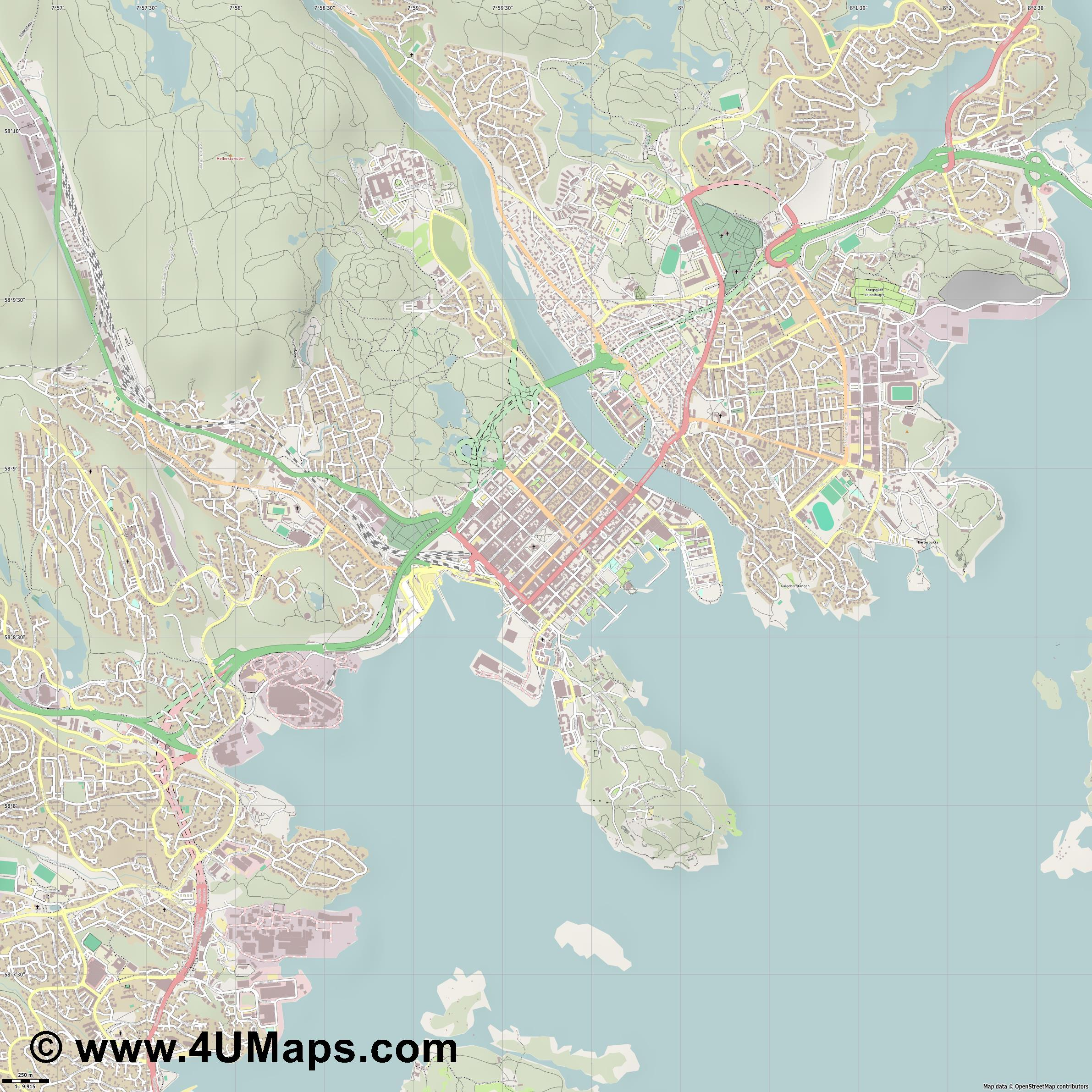 Kristiansand  jpg ultra high detail preview vector city map