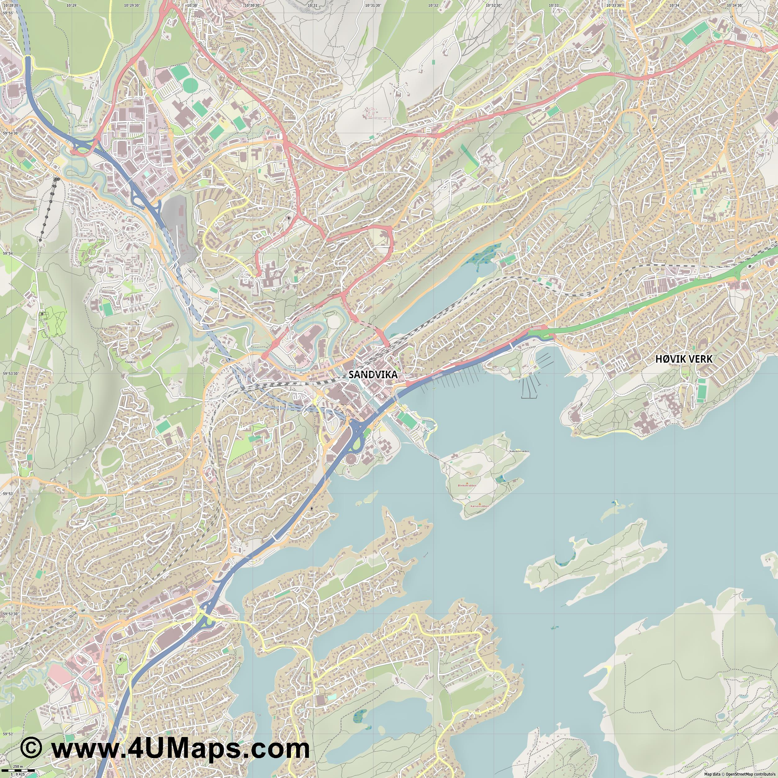 Sandvika  jpg ultra high detail preview vector city map