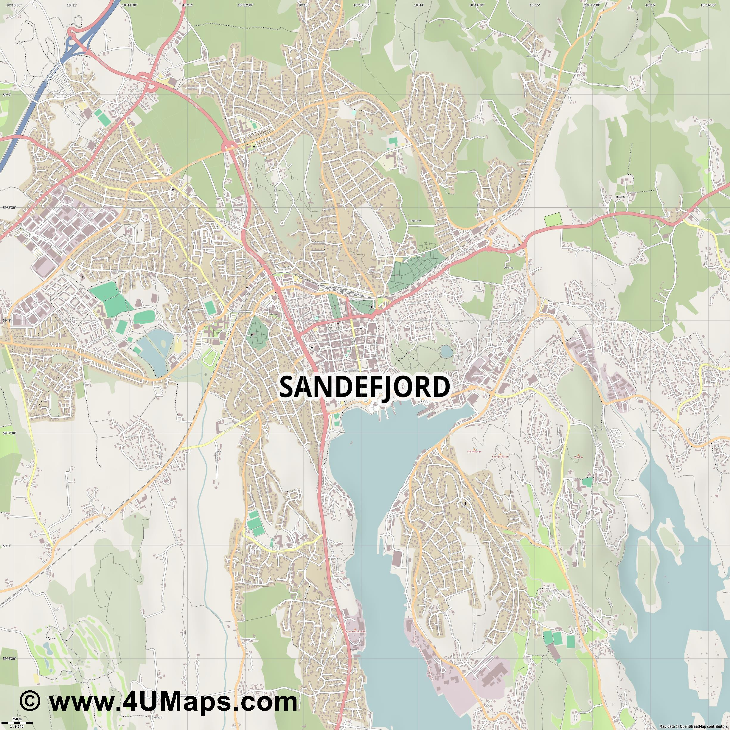 Sandefjord  jpg ultra high detail preview vector city map