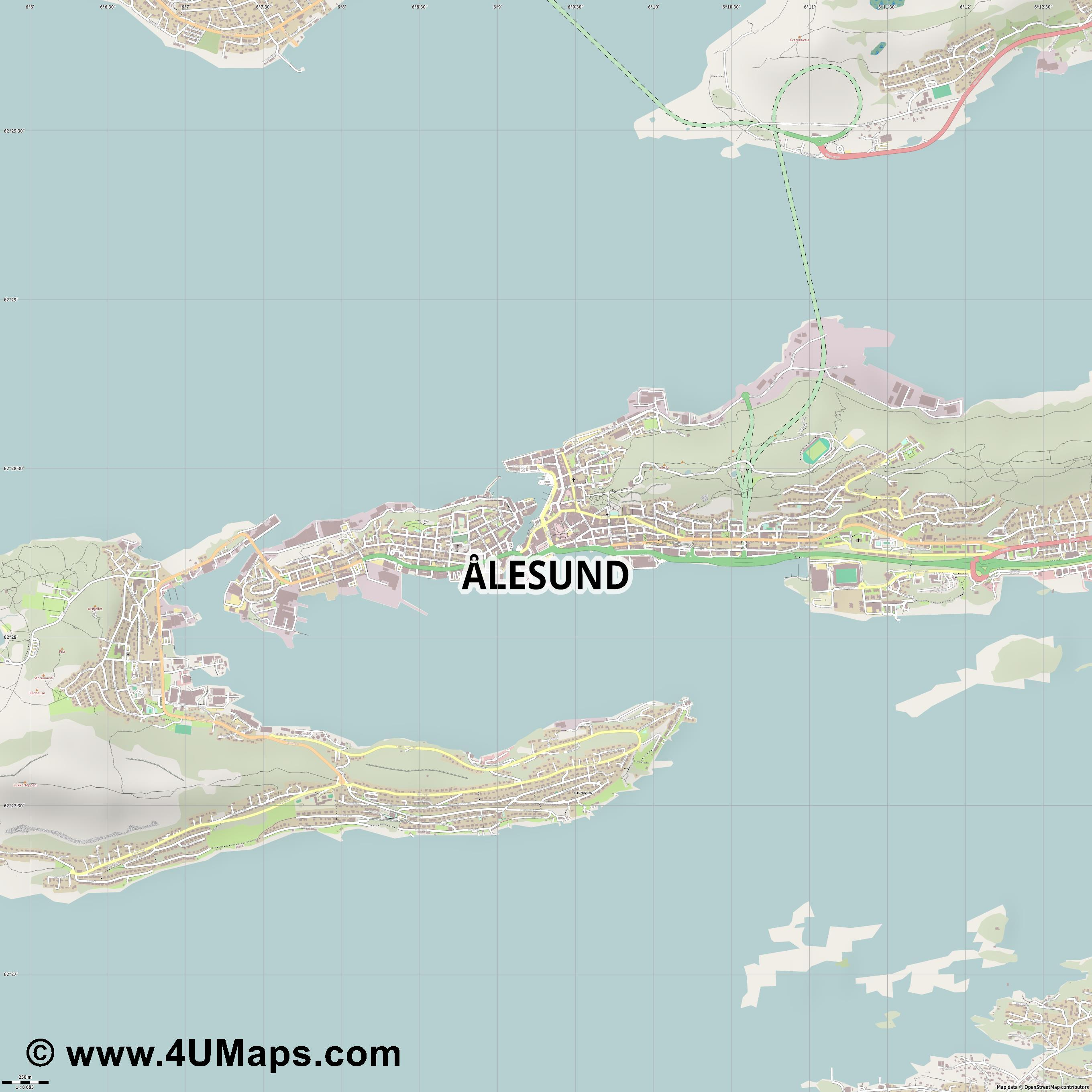Ålesund  jpg ultra high detail preview vector city map