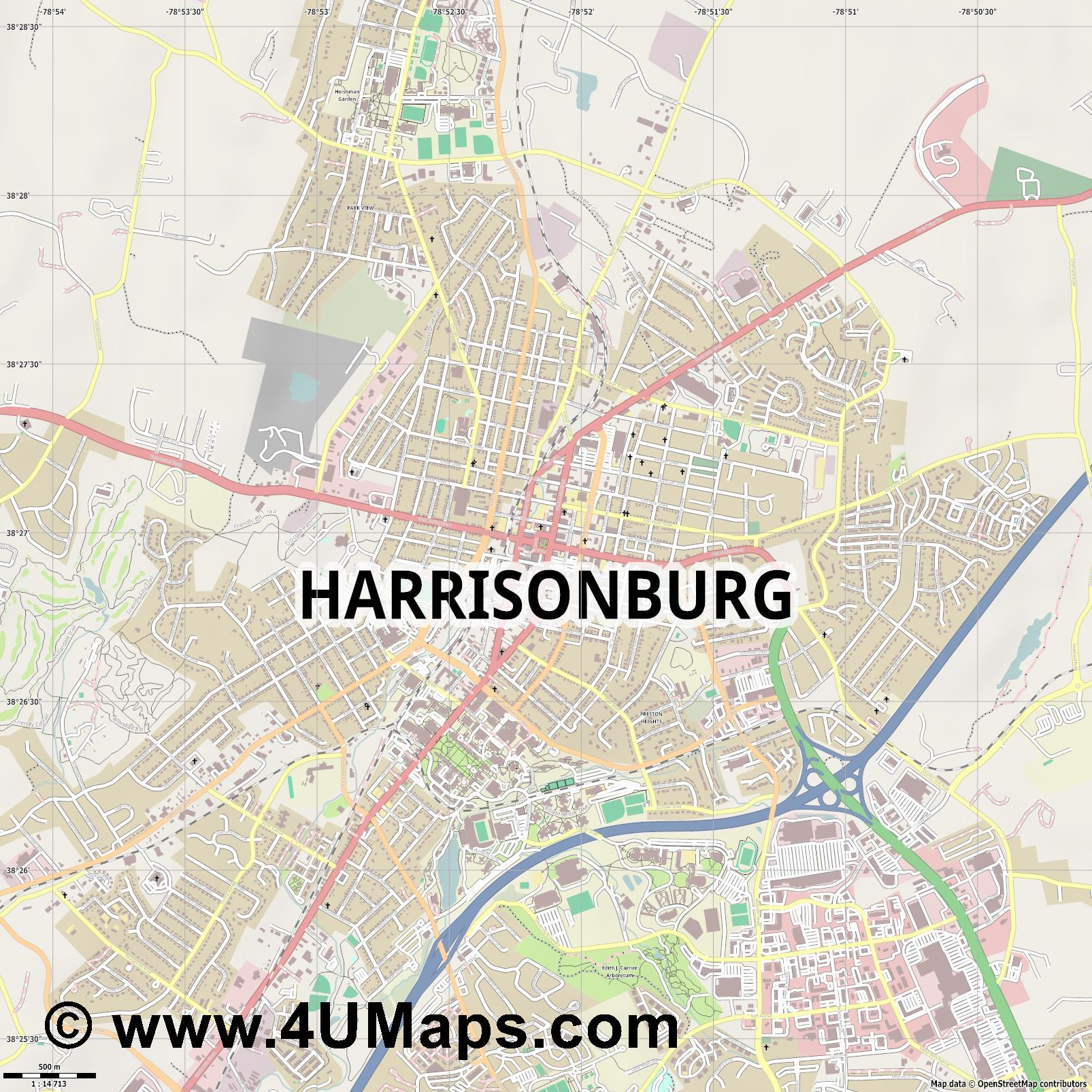 Harrisonburg  jpg ultra high detail preview vector city map