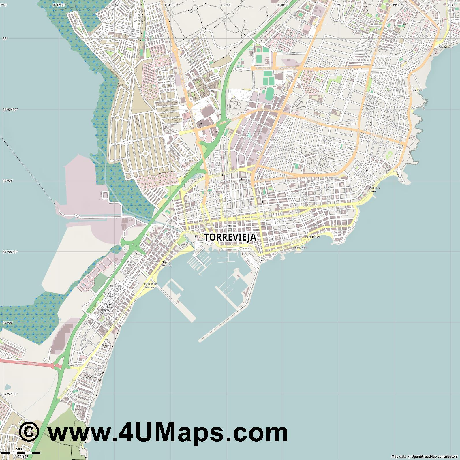 Torrevieja  jpg ultra high detail preview vector city map