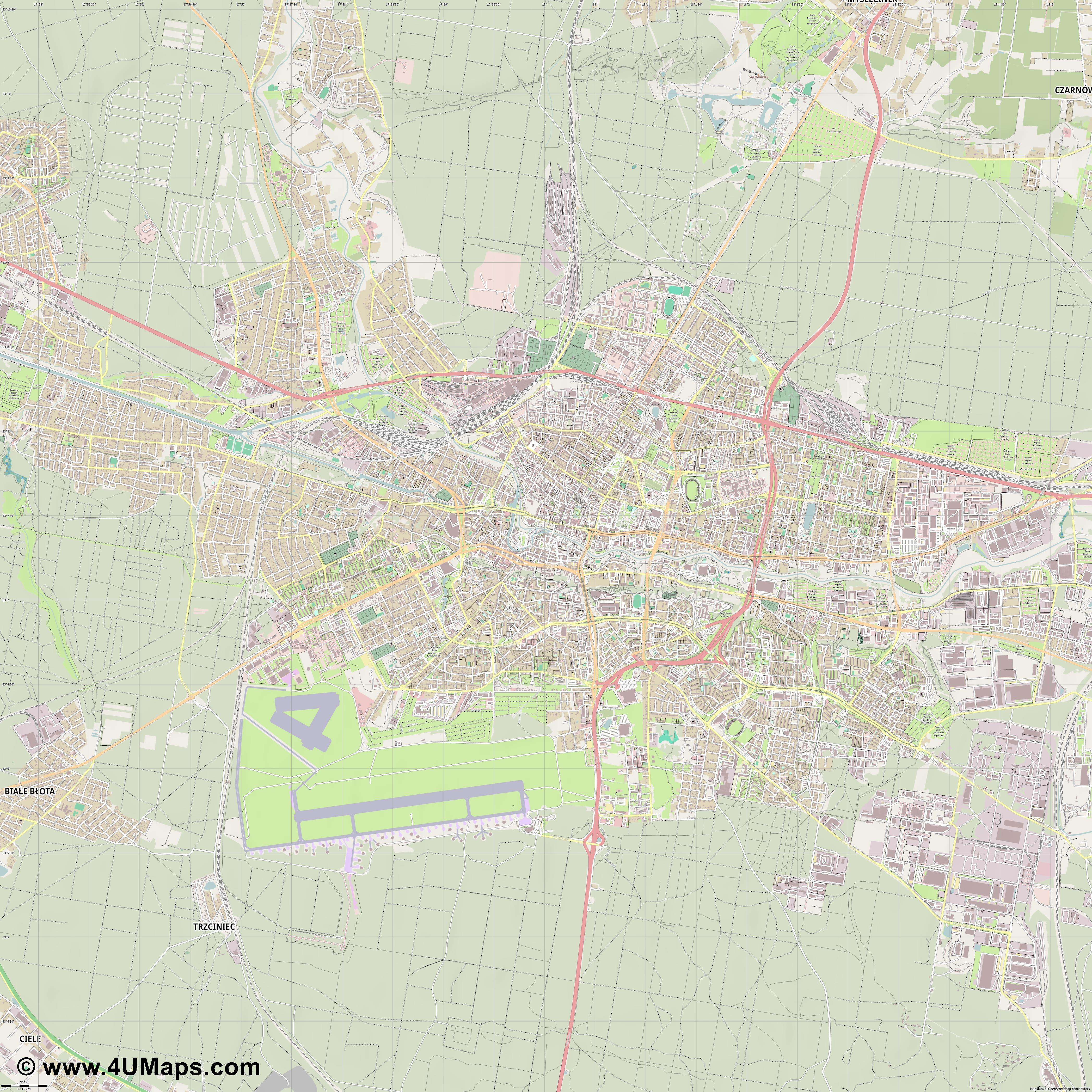 Bydgoszcz Bromberg  jpg ultra high detail preview vector city map