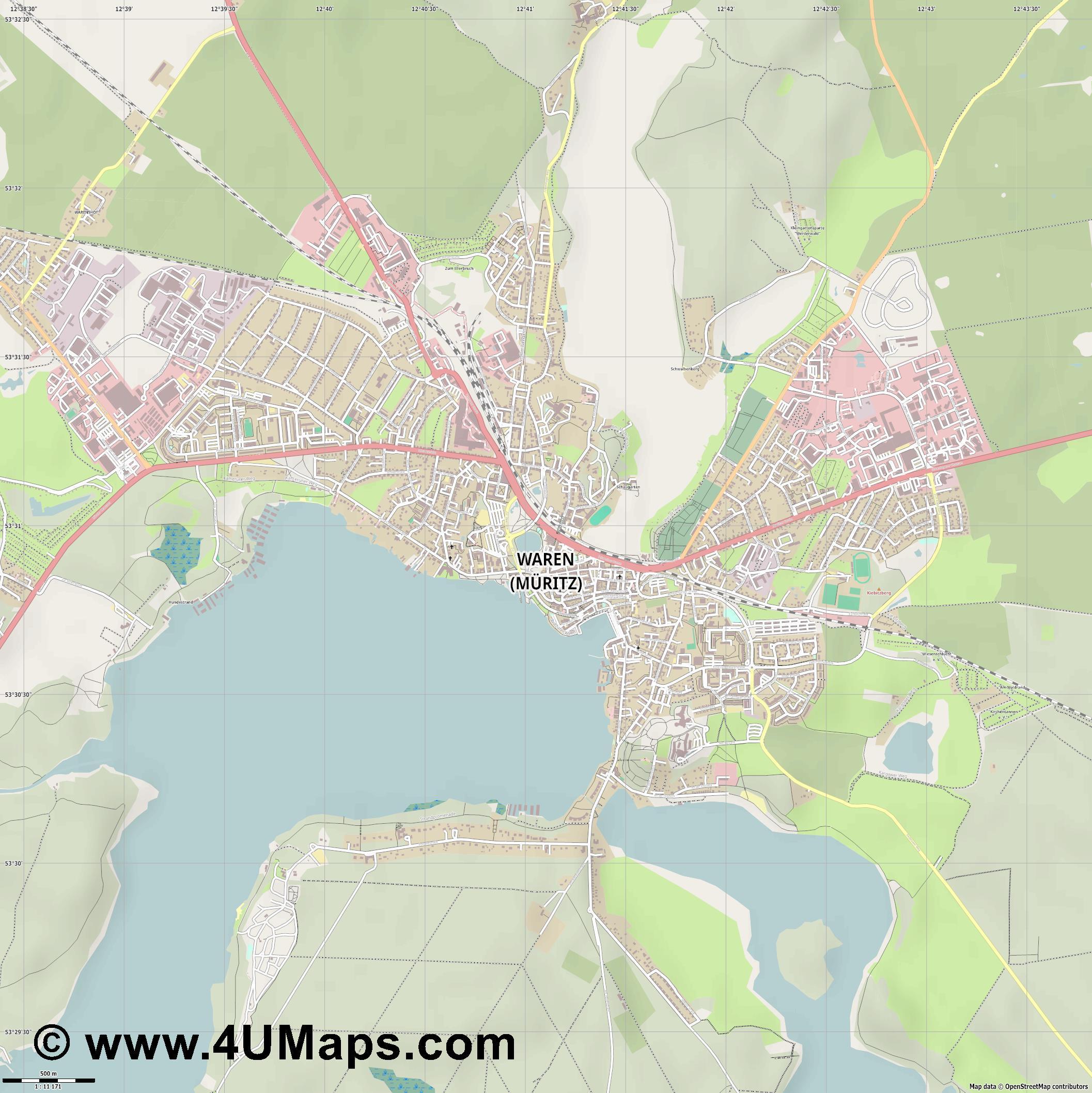 Mecklenburgische Seenplatte Karte Pdf.Pdf Svg Skalierbarer Vektor Stadtplan Vektorkarte Waren Muritz