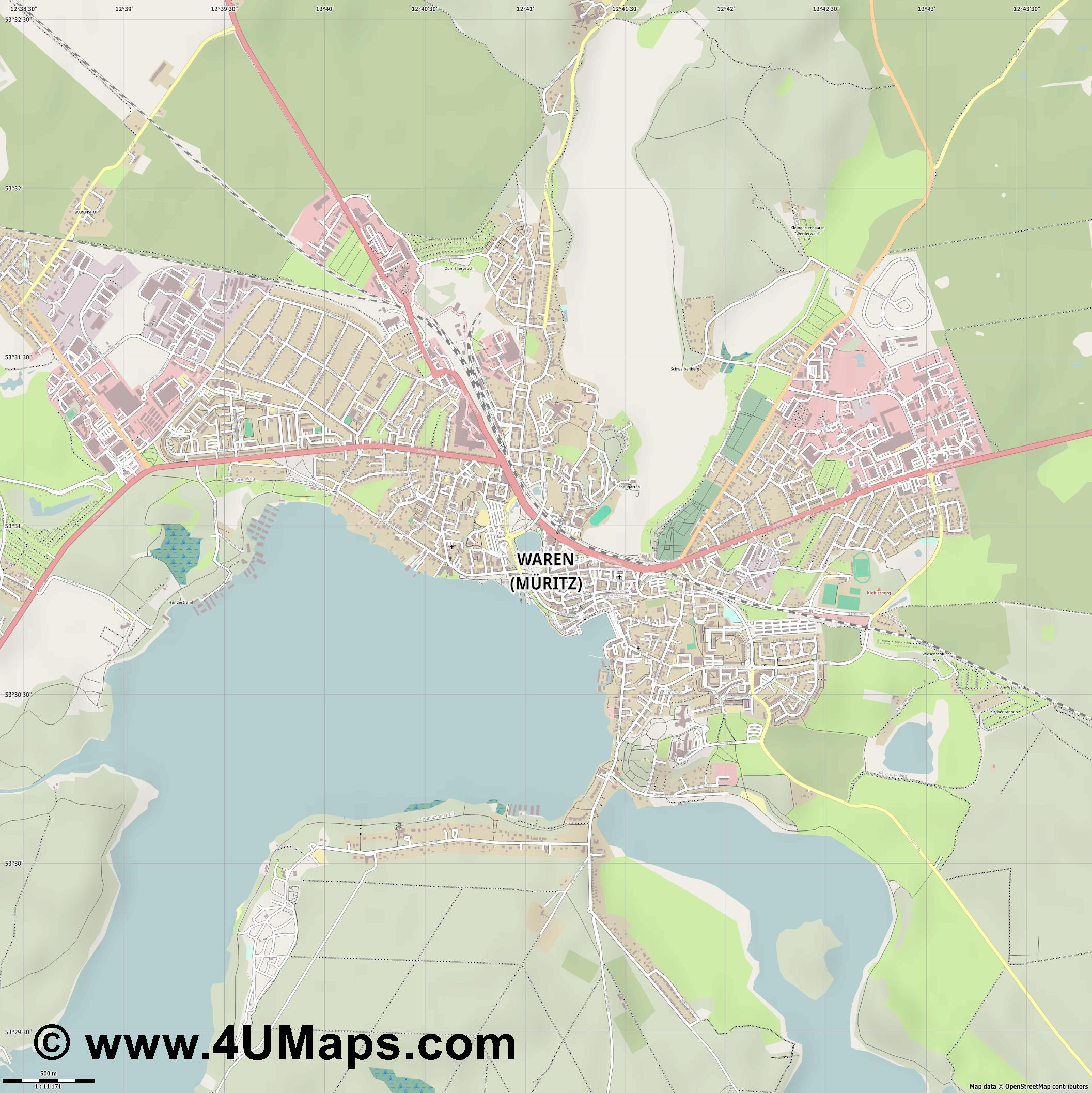 Waren  Müritz   jpg ultra high detail preview vector city map