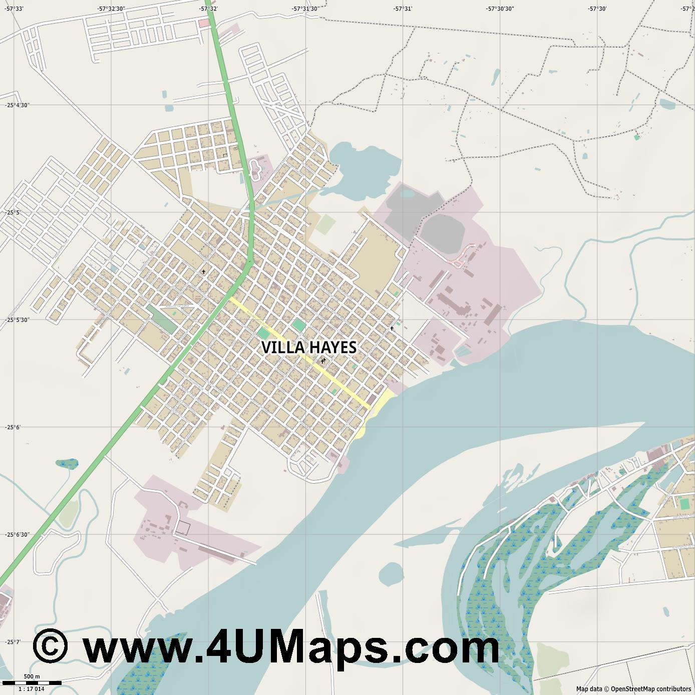 Villa Hayes  jpg ultra high detail preview vector city map