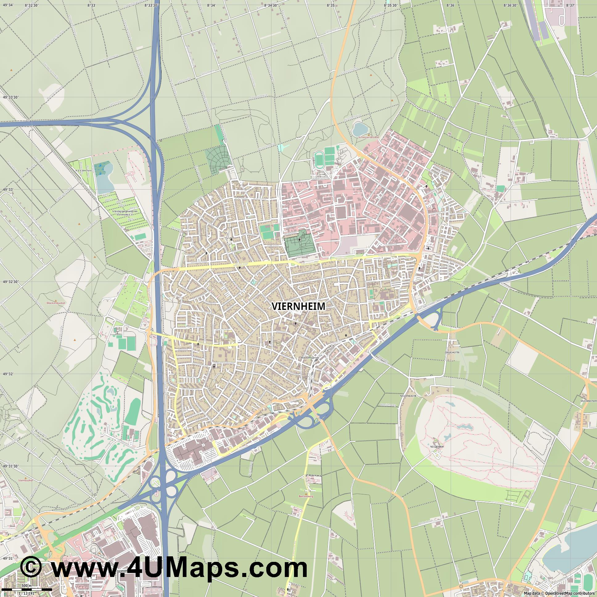 Viernheim  jpg ultra high detail preview vector city map