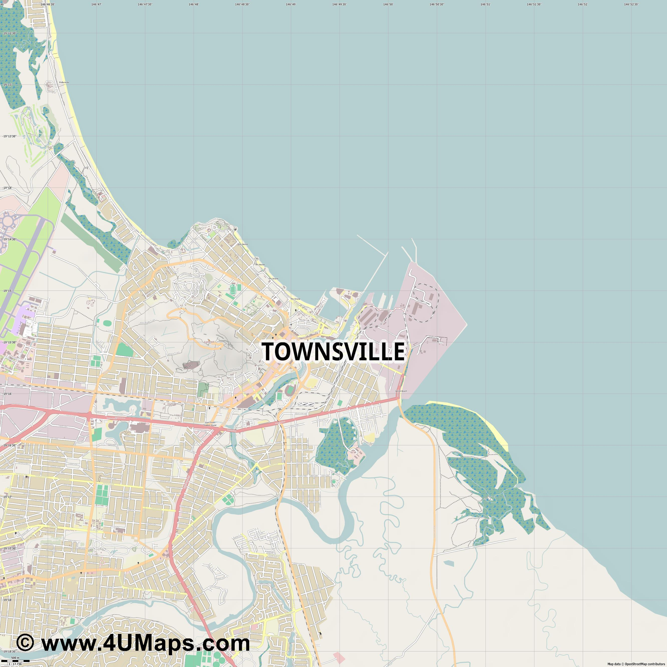 Townsville  jpg ultra high detail preview vector city map