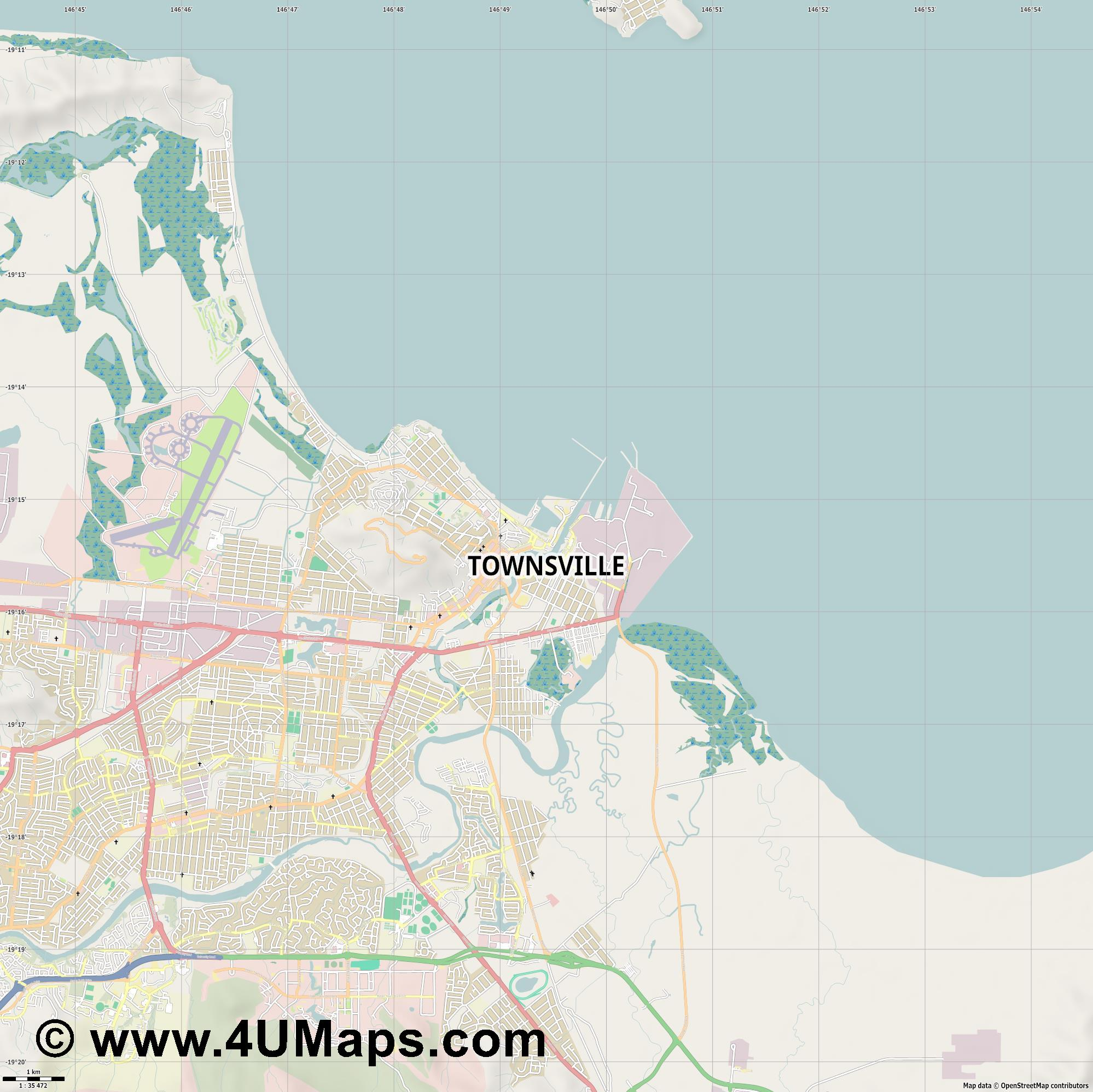 Townsville  jpg high detail, large area preview vector city map