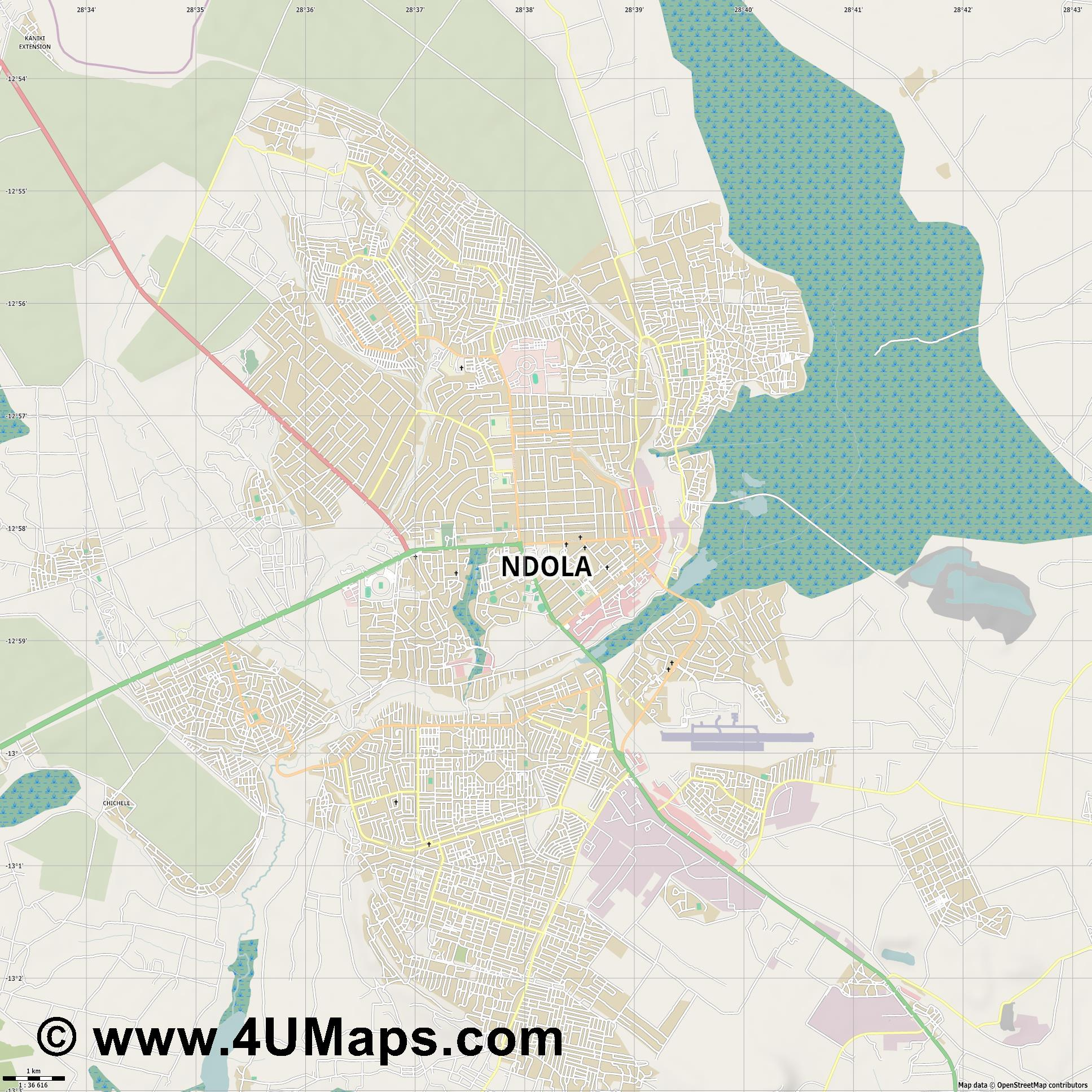 Ndola  jpg high detail, large area preview vector city map