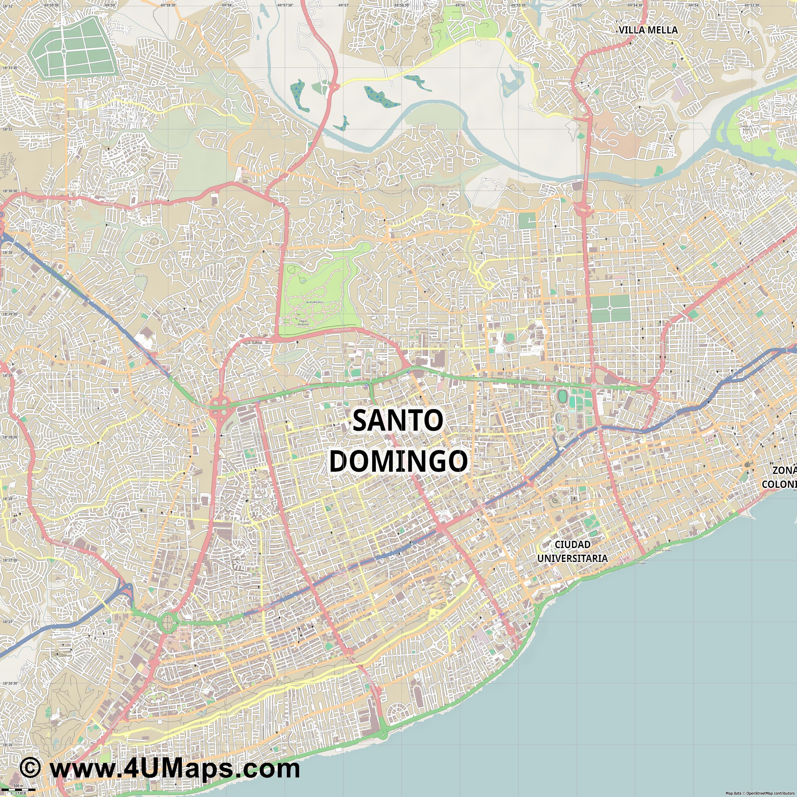 Svg Scalable Vector City Map Santo Domingo - Santo domingo map