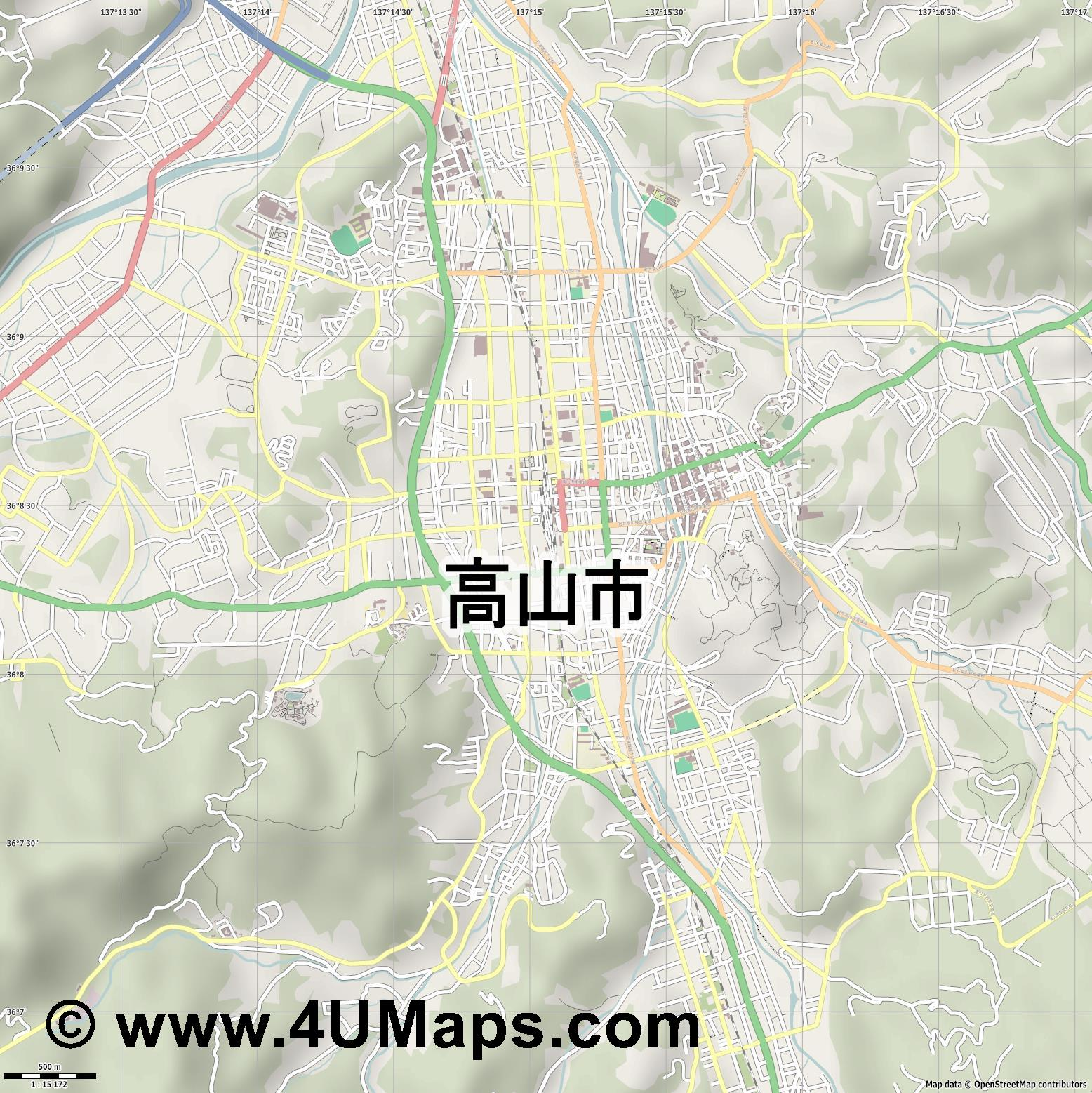 高山市  Takayama   jpg ultra high detail preview vector city map