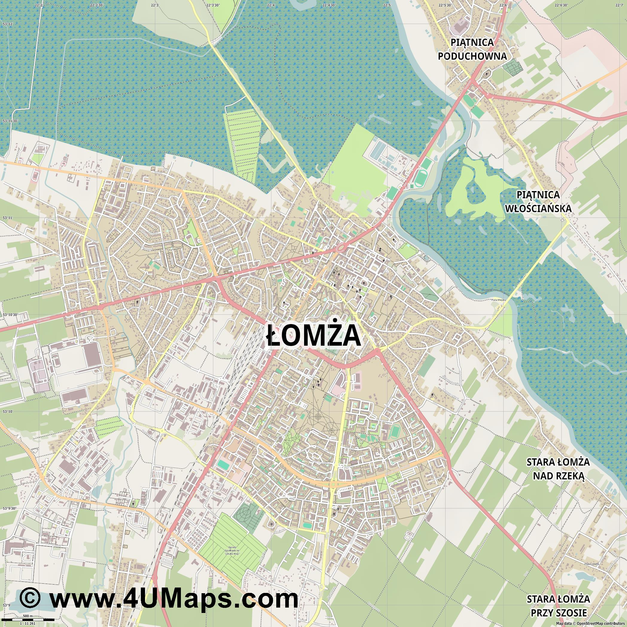Łomża Lomscha  jpg ultra high detail preview vector city map