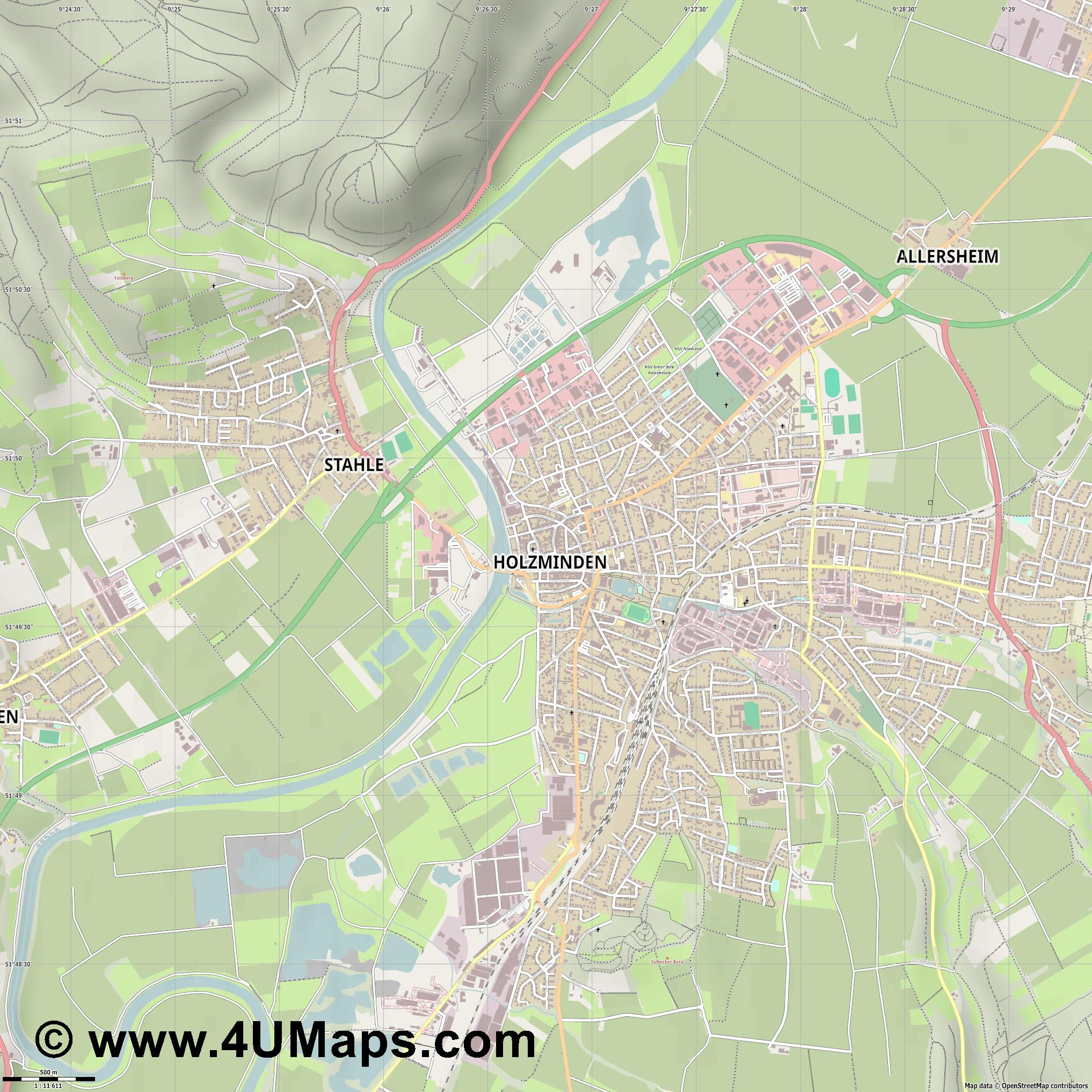 Holzminden  jpg ultra high detail preview vector city map