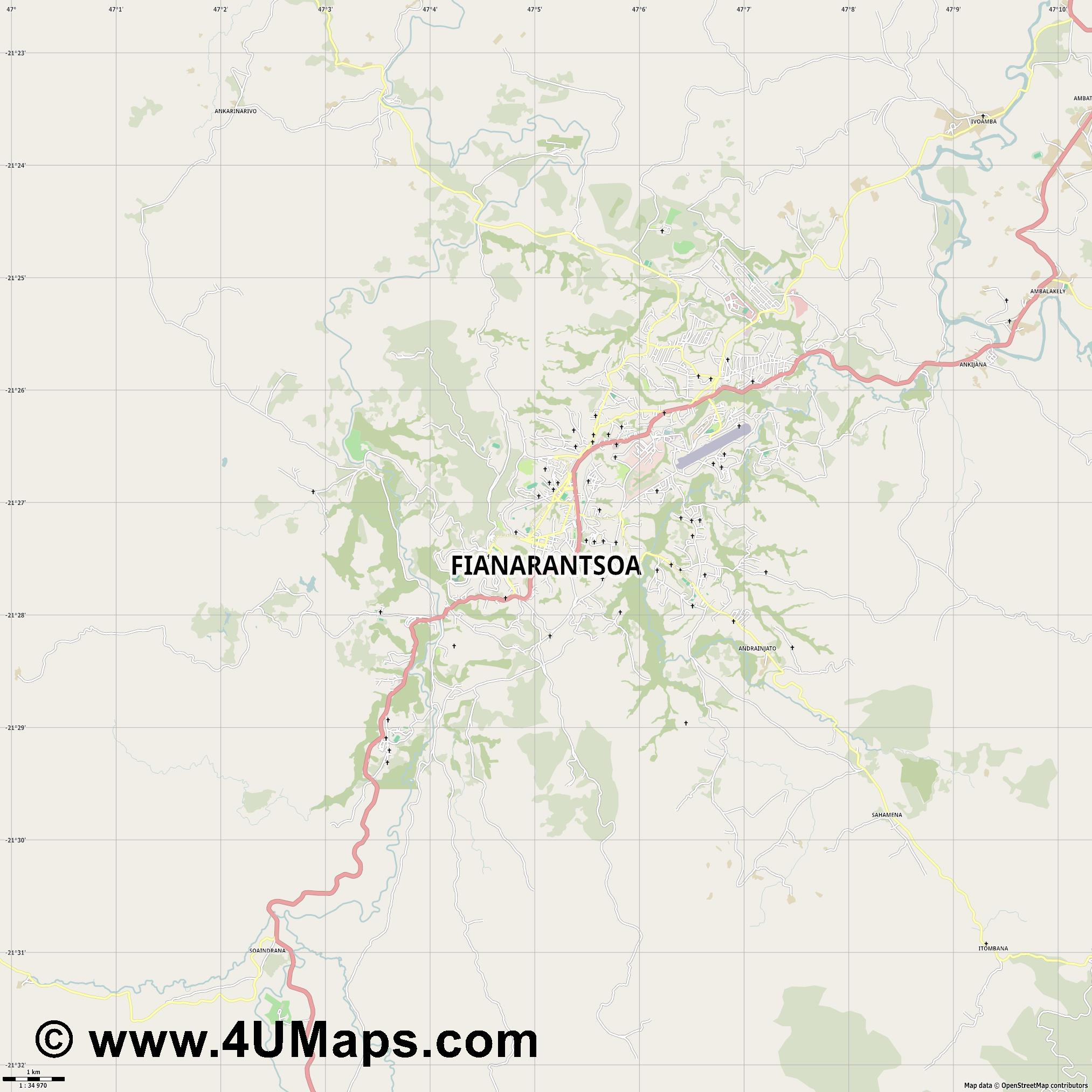 Fianarantsoa  jpg high detail, large area preview vector city map
