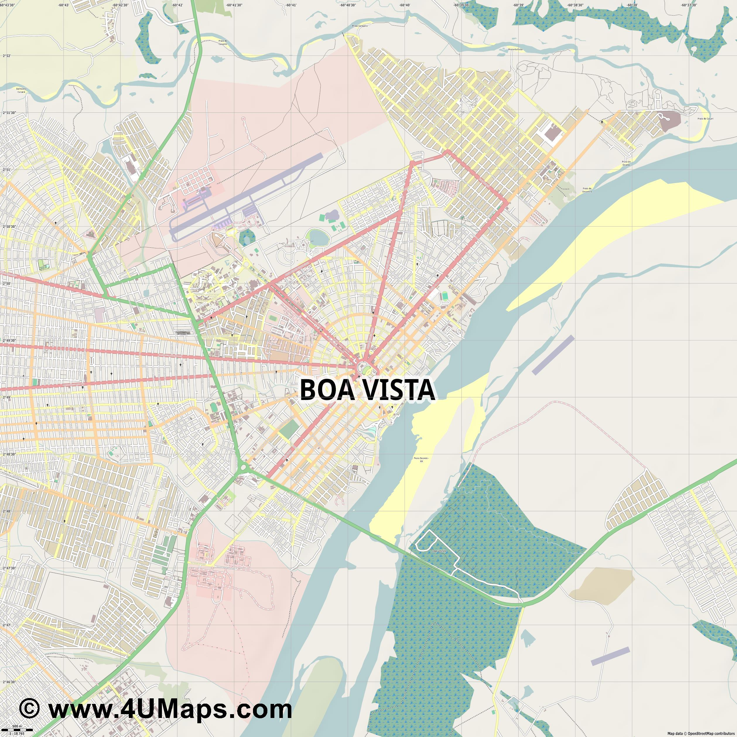 Boa Vista  jpg ultra high detail preview vector city map