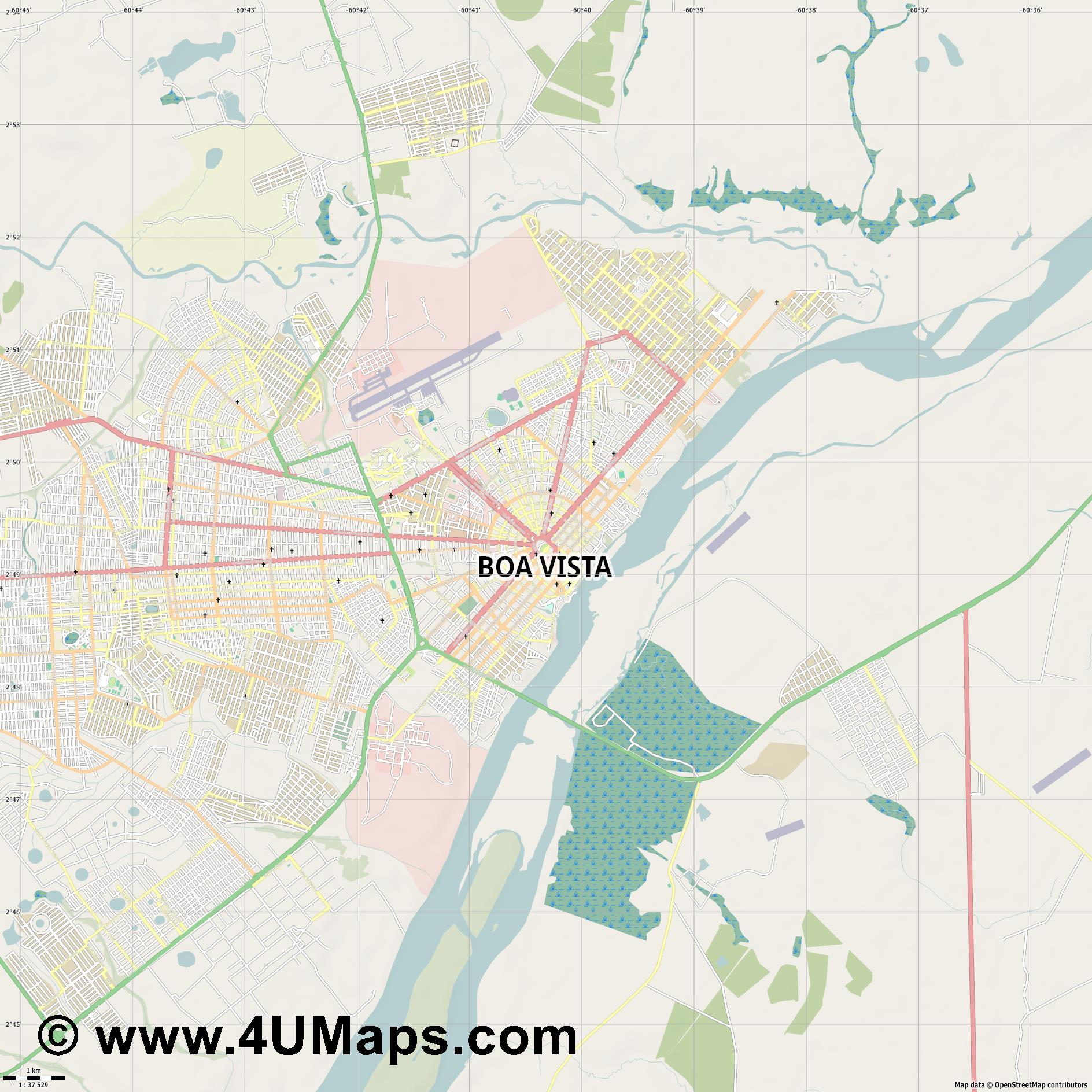 Boa Vista  jpg high detail, large area preview vector city map