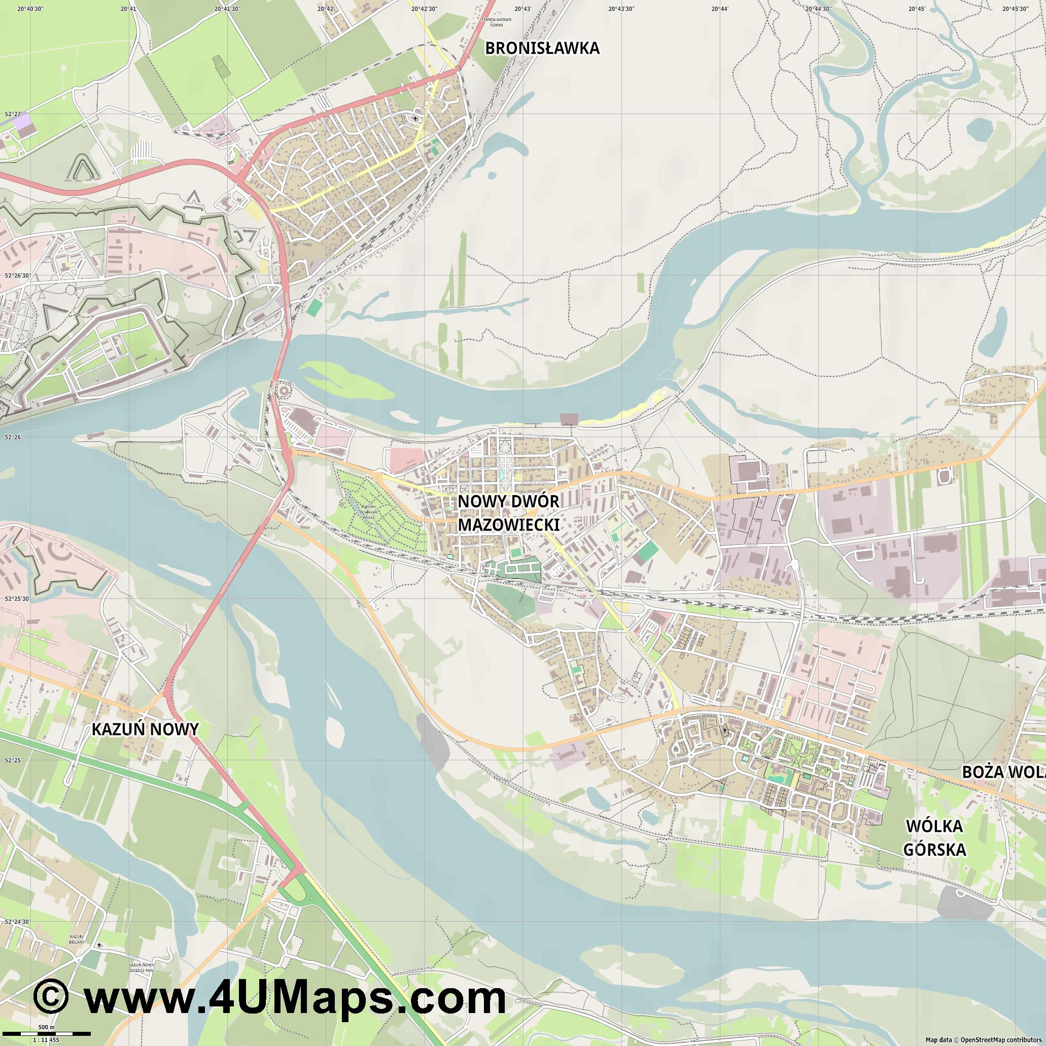 Nowy Dwór Mazowiecki  jpg ultra high detail preview vector city map