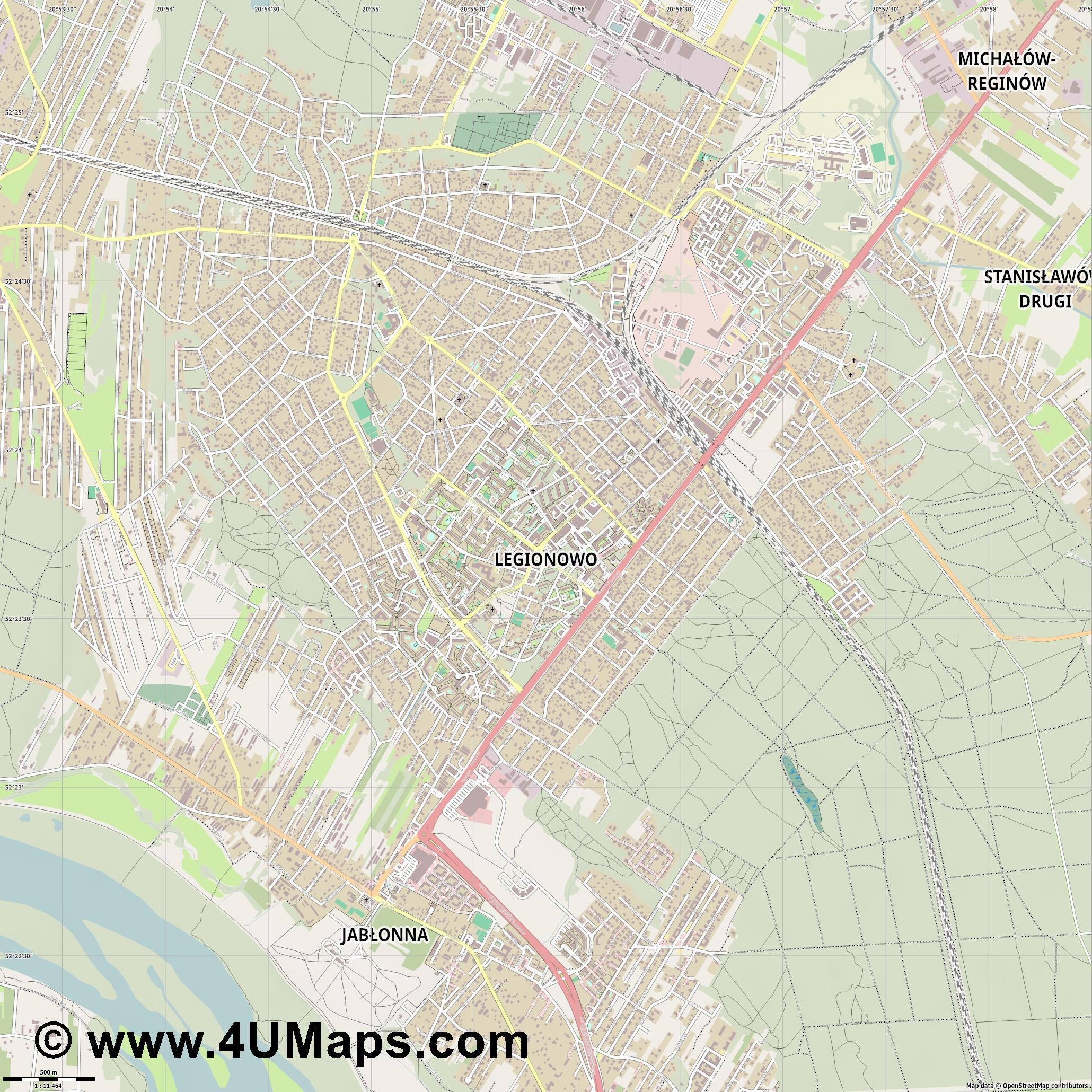 Legionowo  jpg ultra high detail preview vector city map